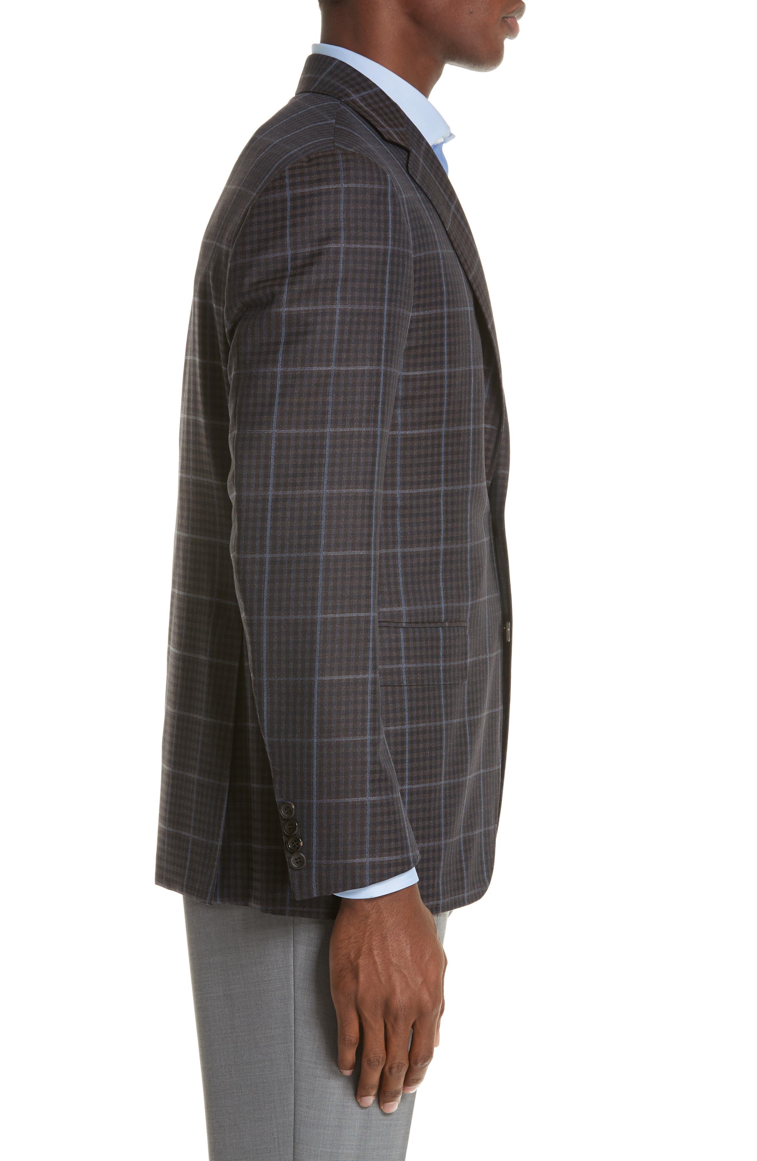 Classic Fit Plaid Wool Sport Coat,                             Alternate thumbnail 3, color,                             BROWN
