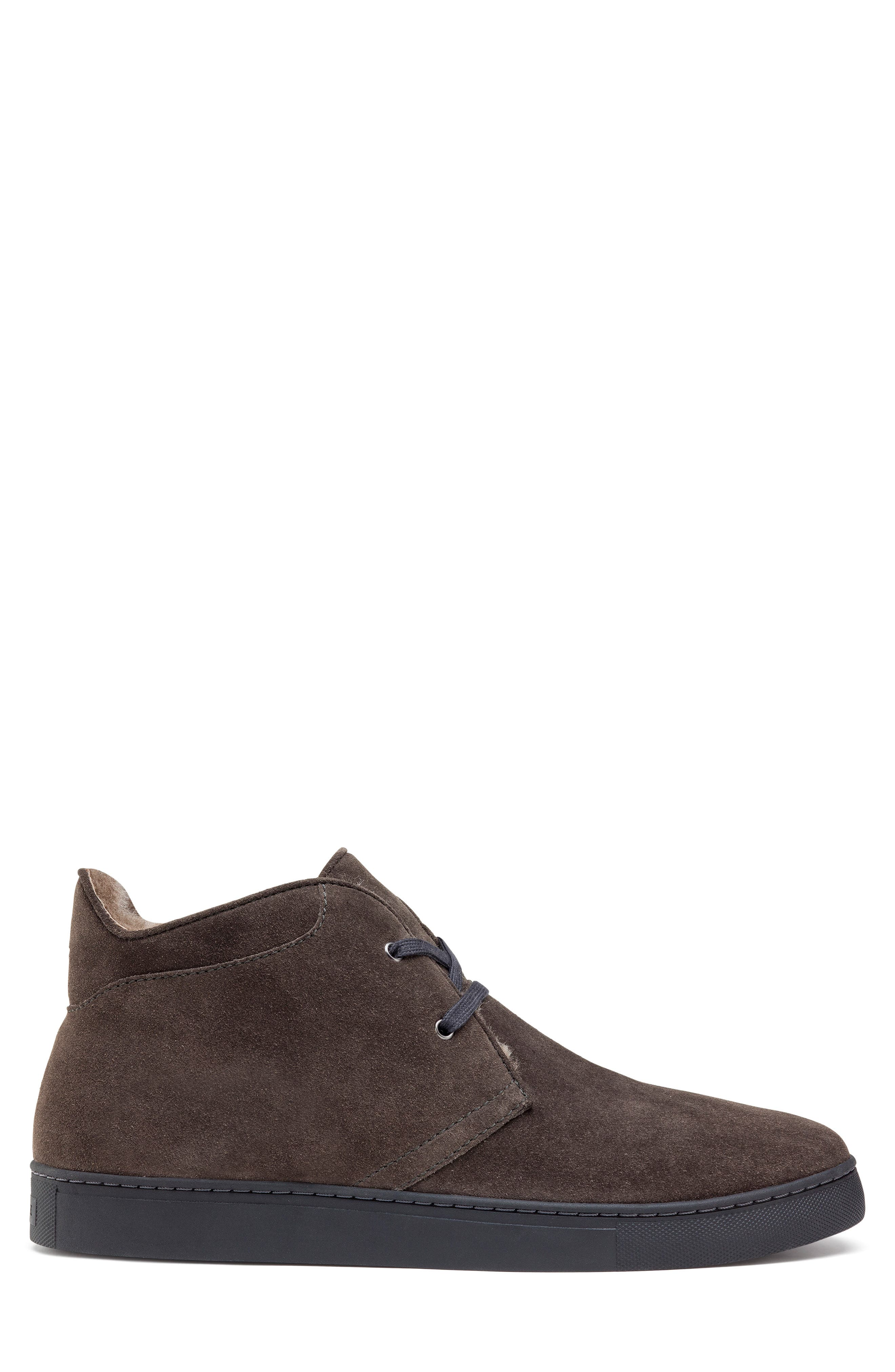 Ariston Genuine Shearling Chukka Boot,                             Alternate thumbnail 3, color,                             CHARCOAL SUEDE