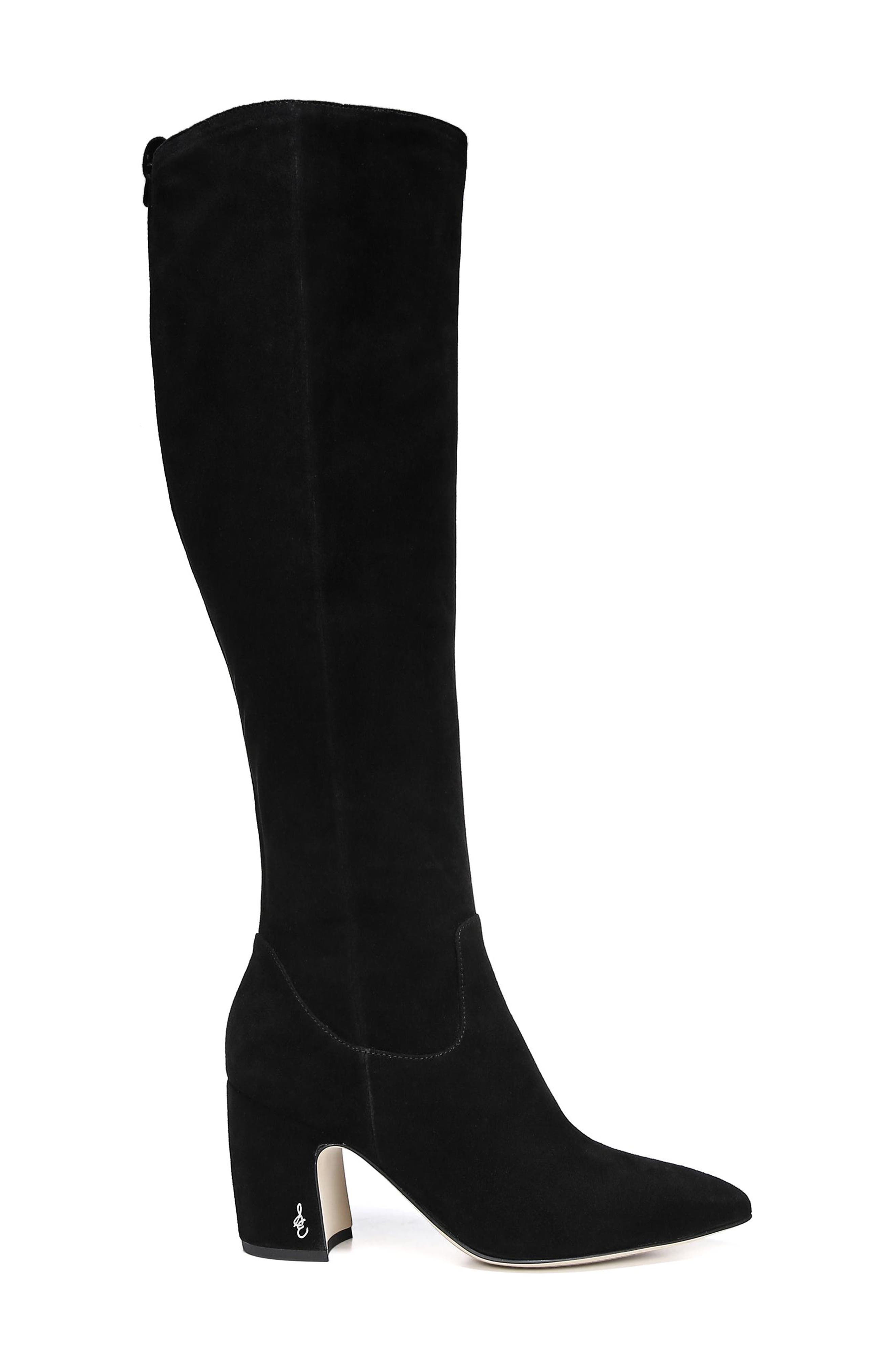 Hai Knee High Boot,                             Alternate thumbnail 3, color,                             BLACK SUEDE