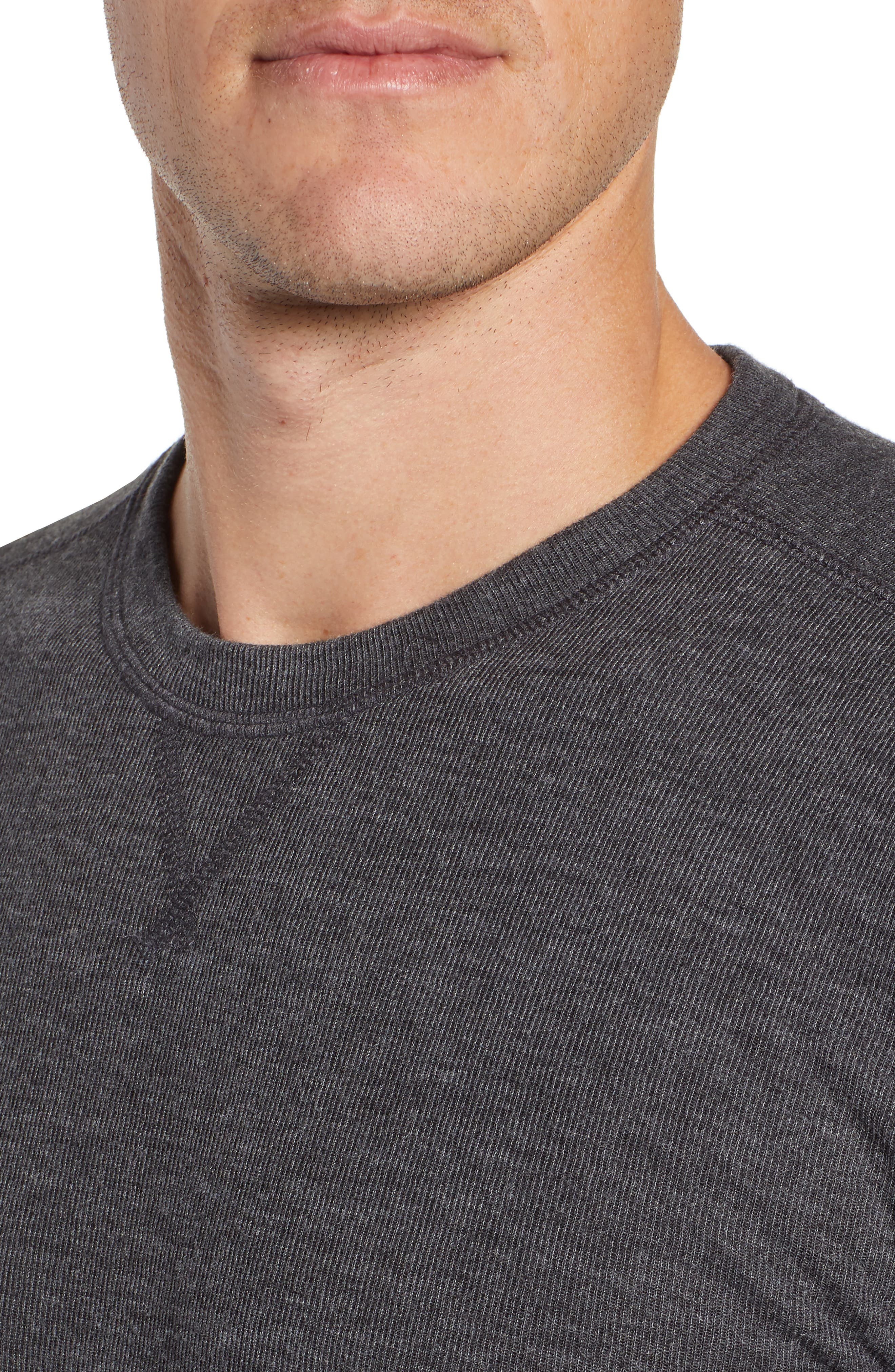 Slim Fit Ribbed Double Face T-Shirt,                             Alternate thumbnail 4, color,                             001