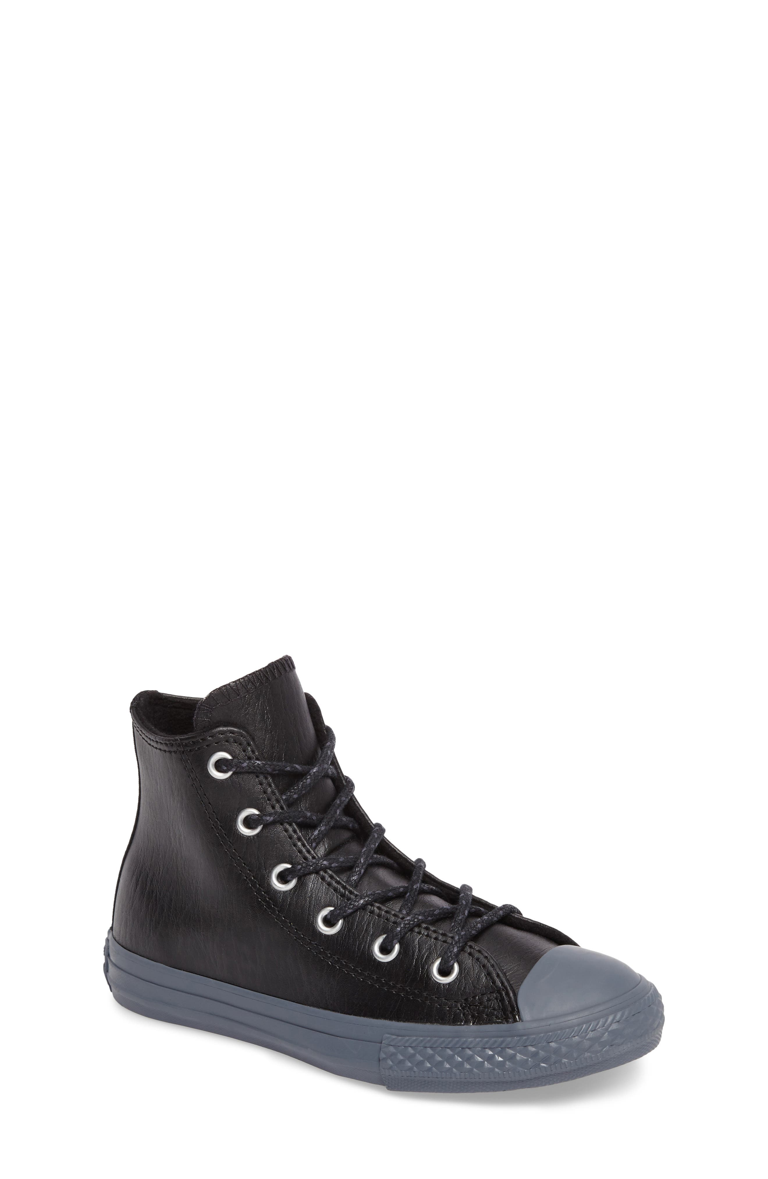 Chuck Taylor<sup>®</sup> All Star<sup>®</sup> Leather High Top Sneaker,                         Main,                         color, 001