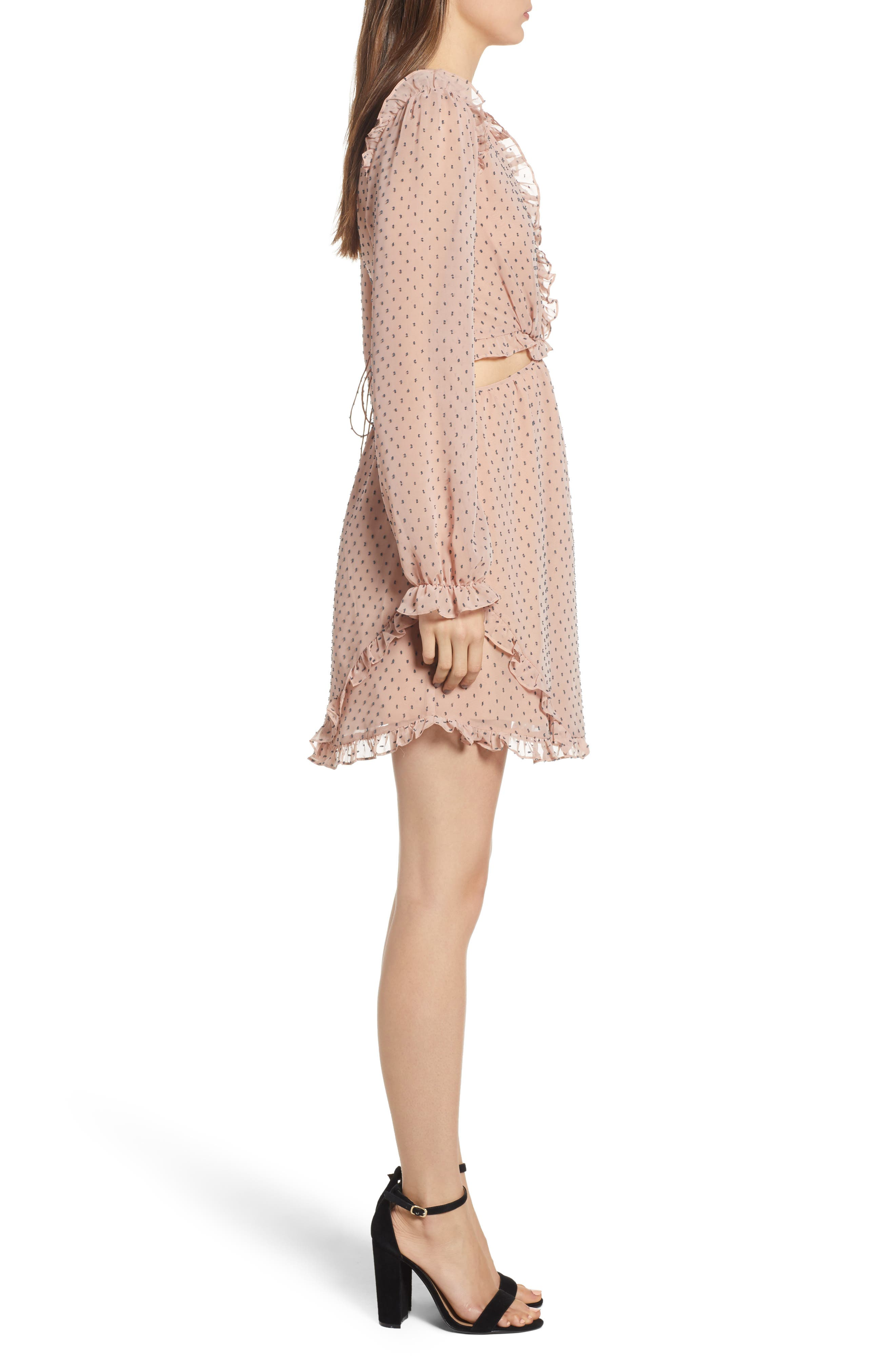 WAYF,                             Allegria Lace-Up Minidress,                             Alternate thumbnail 4, color,                             650