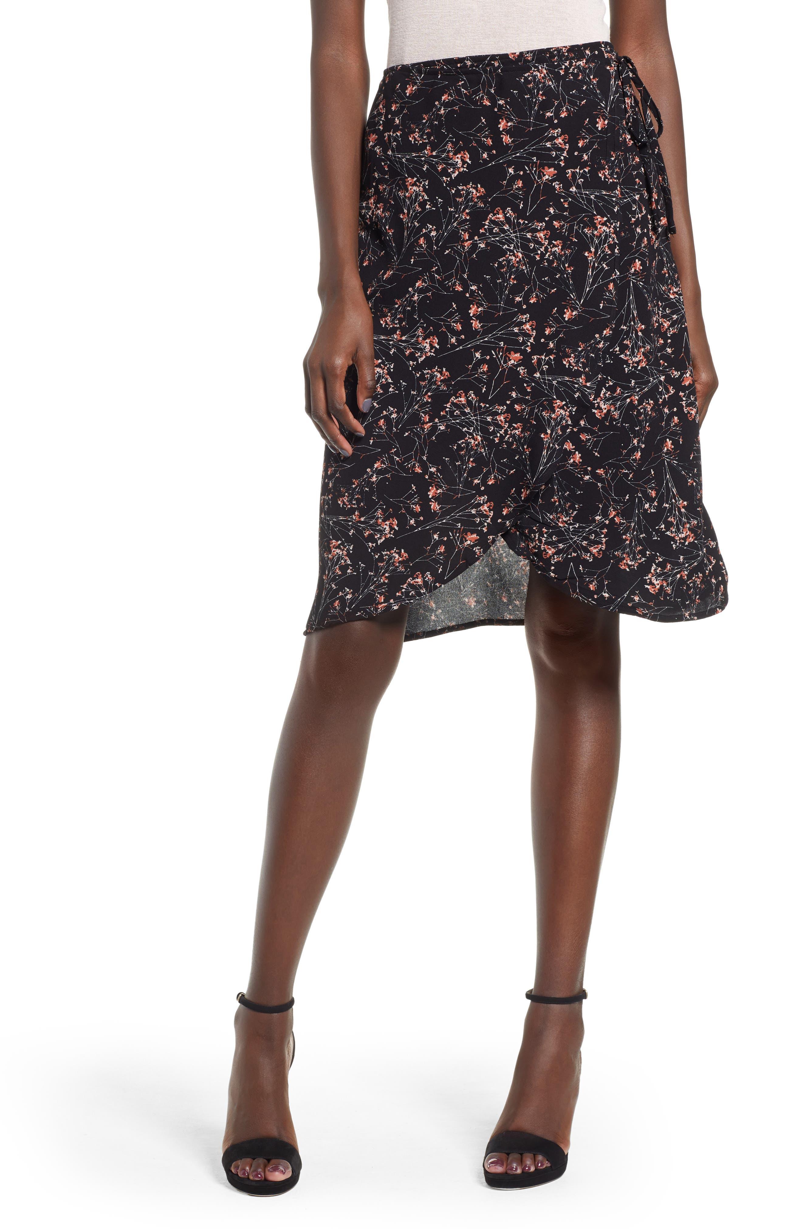 Lira Clothing Wrap Me Up Print Wrap Skirt, Black