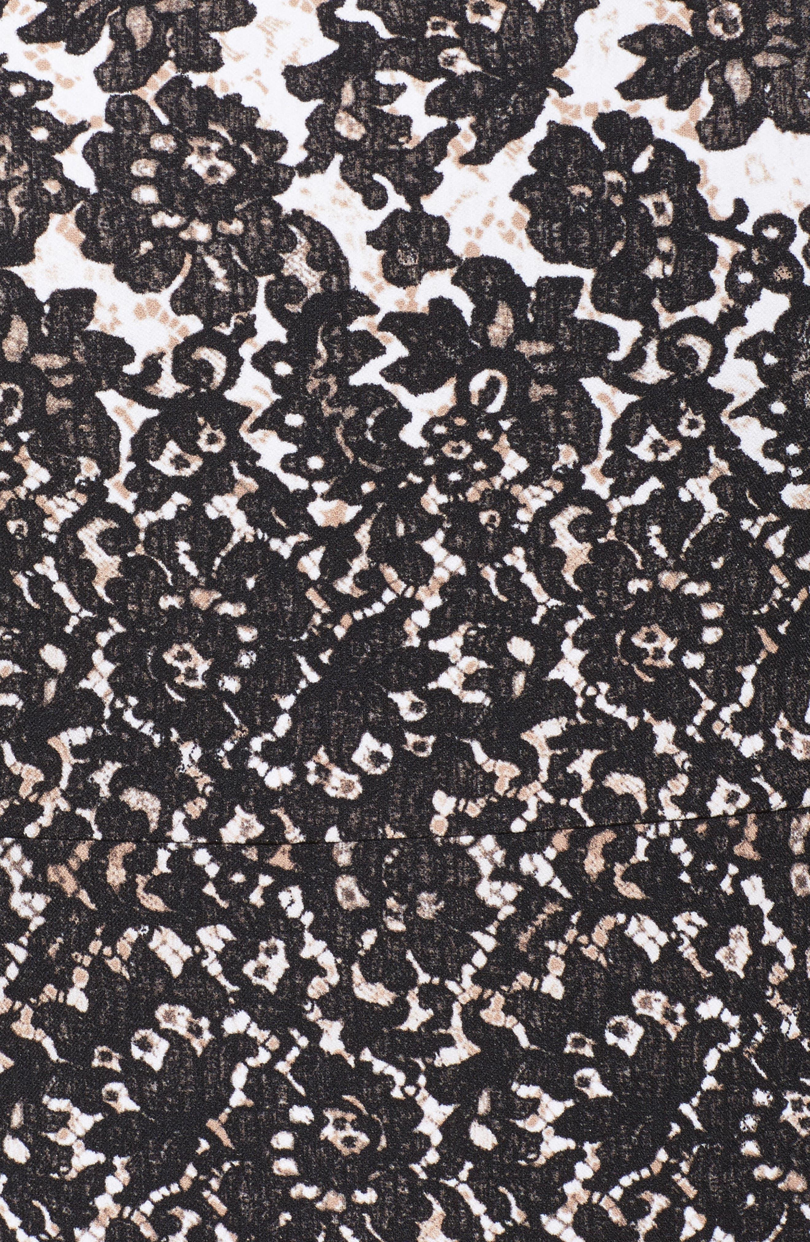 Lace Print Fit & Flare Dress,                             Alternate thumbnail 5, color,