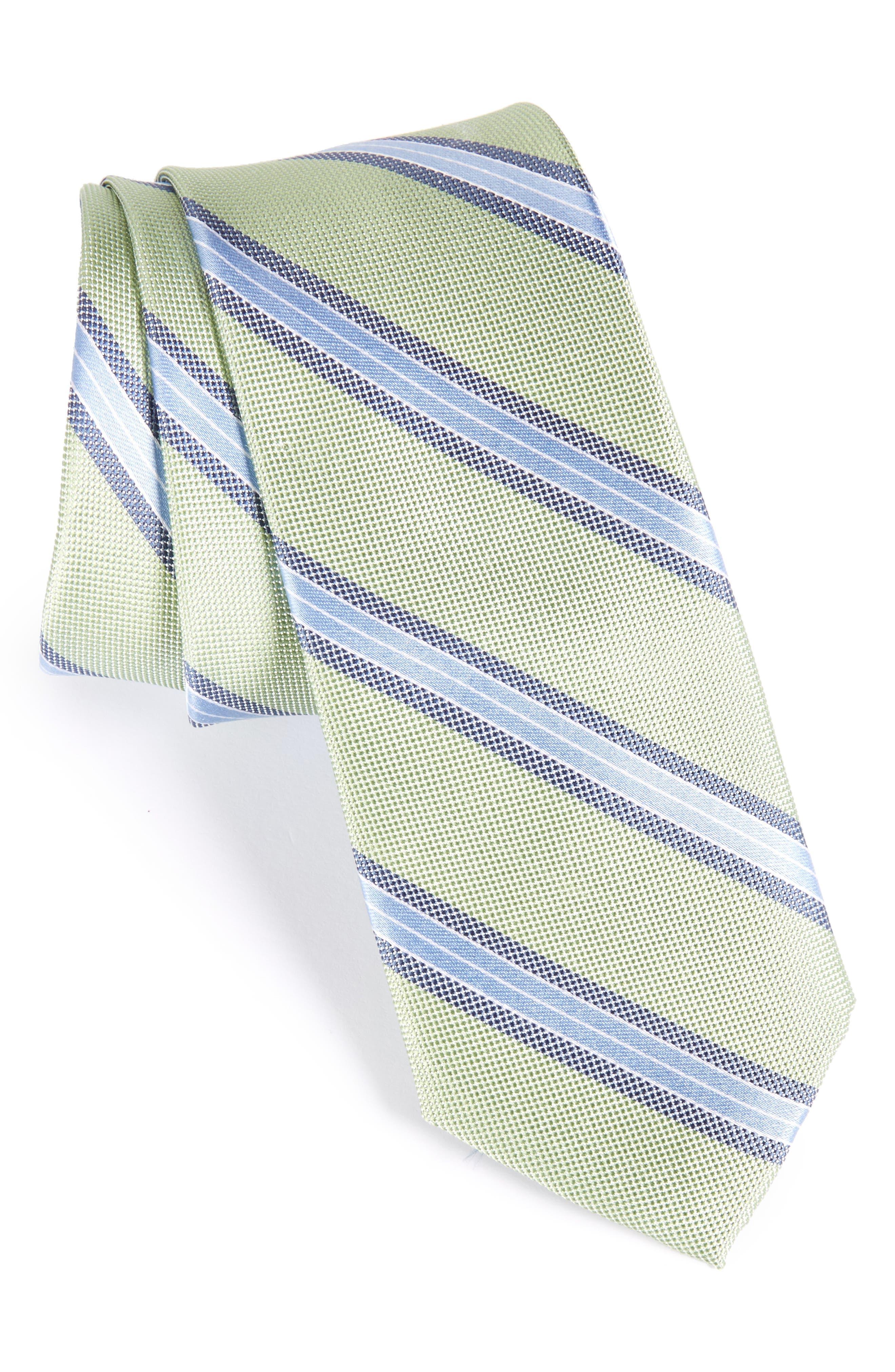 Stripe Silk Skinny Tie,                             Main thumbnail 2, color,