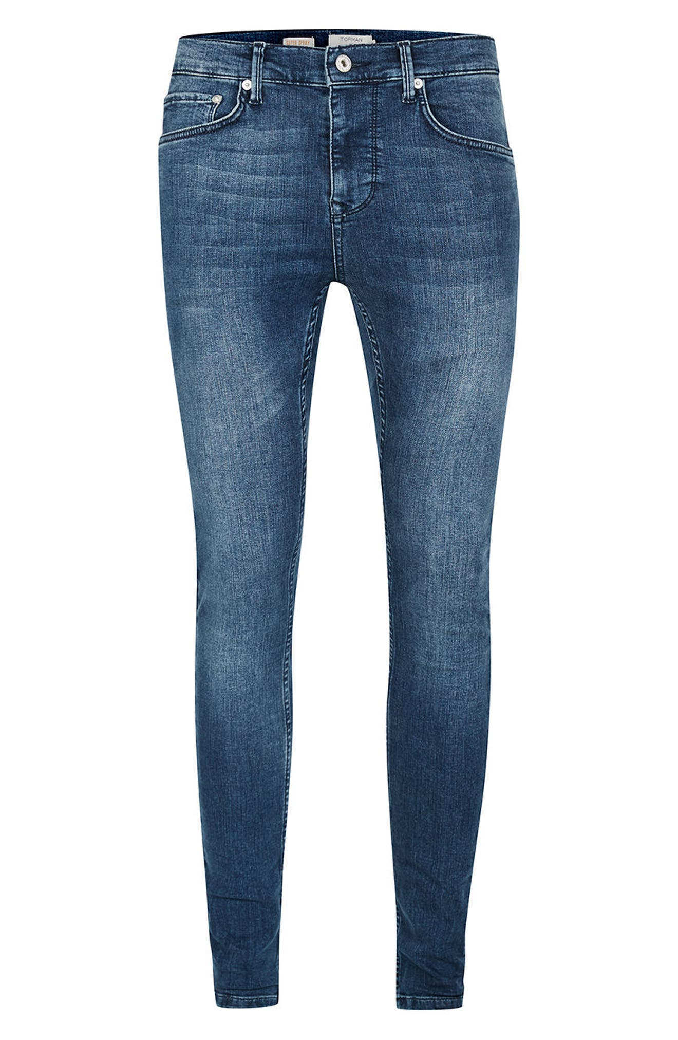 Super Spray On Skinny Fit Jeans,                             Alternate thumbnail 4, color,                             400