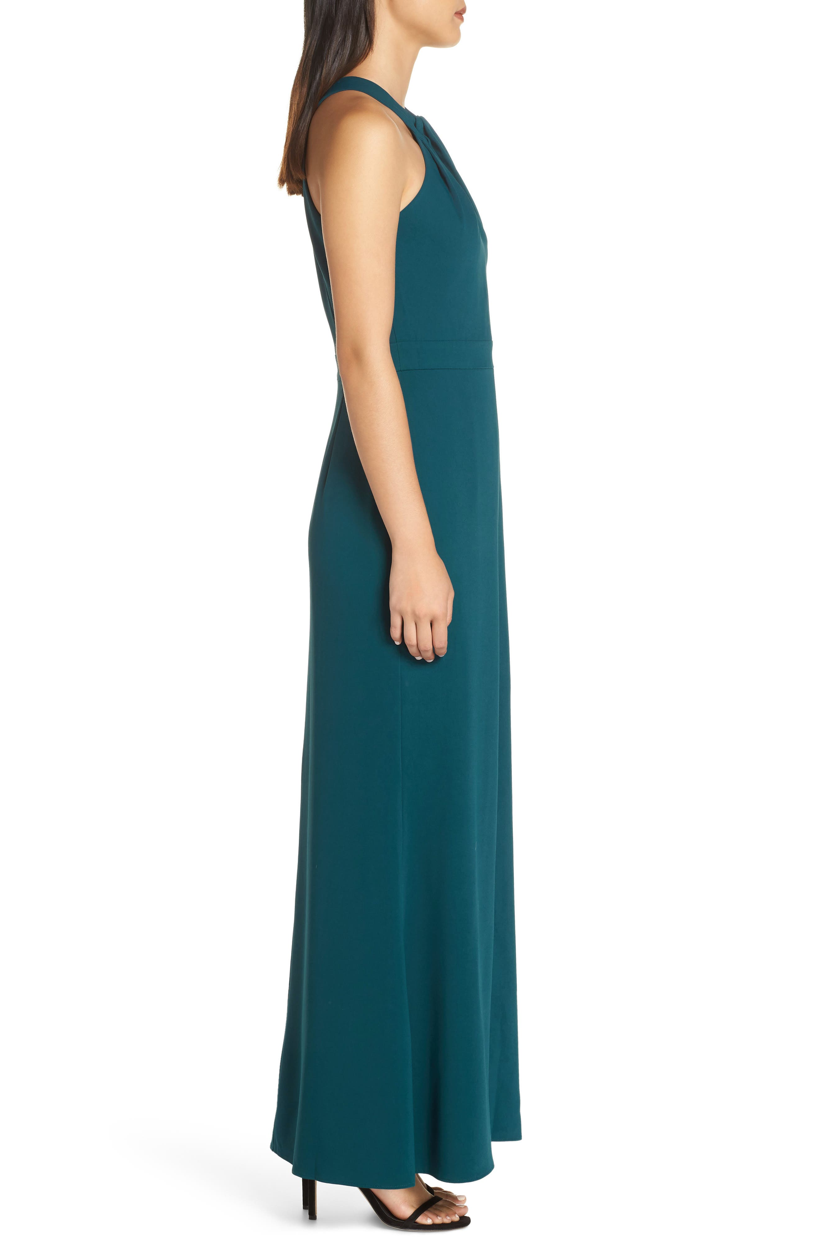 Halter Gown,                             Alternate thumbnail 3, color,                             FOREST GREEN