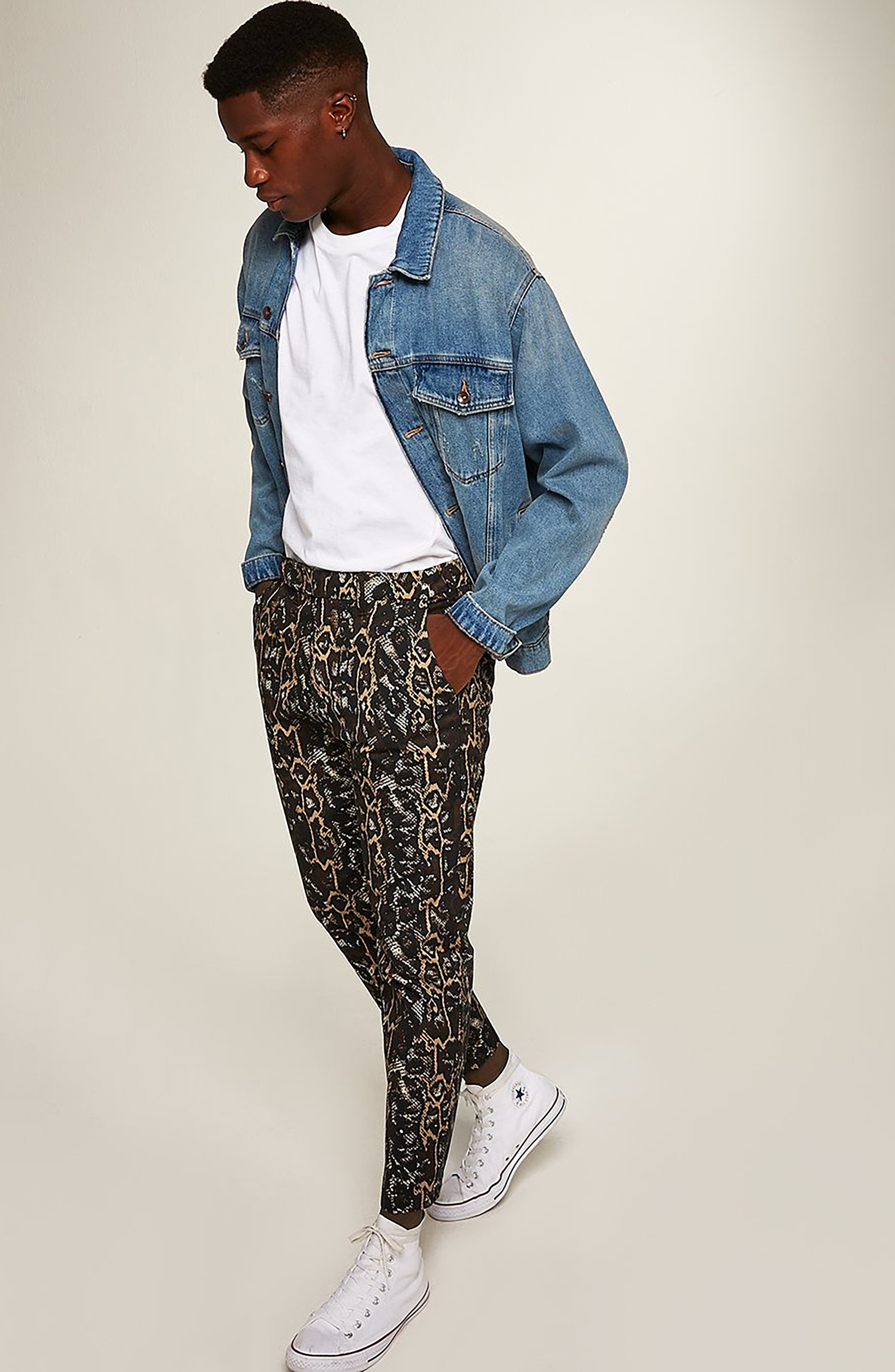 Tapered Fit Snakeskin Print Pants,                             Alternate thumbnail 7, color,                             GOLD MULTI