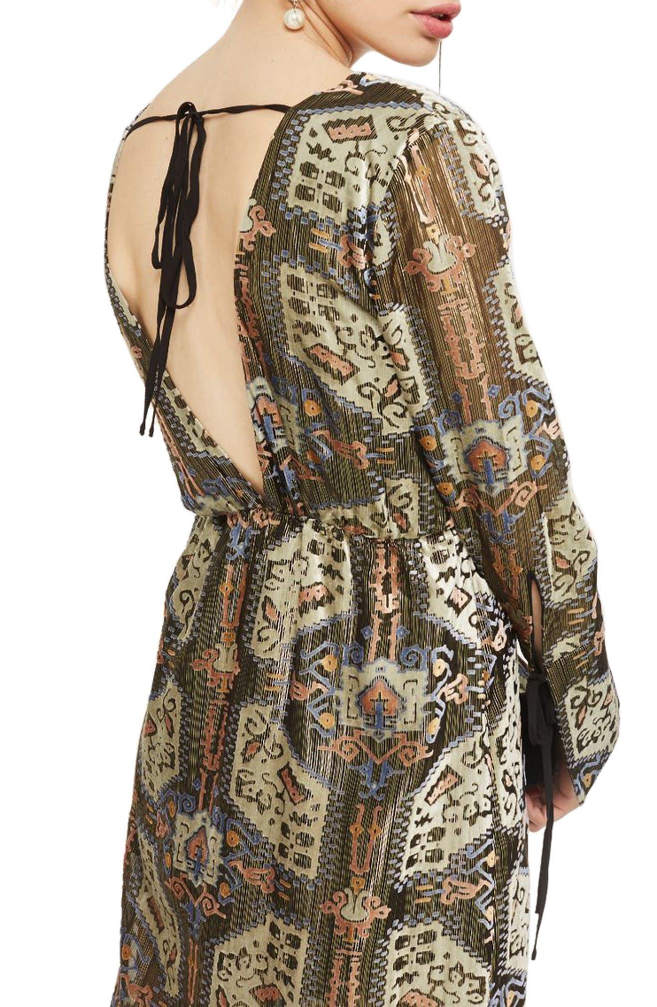 Devore Plunge Neck Dress,                             Alternate thumbnail 2, color,                             310