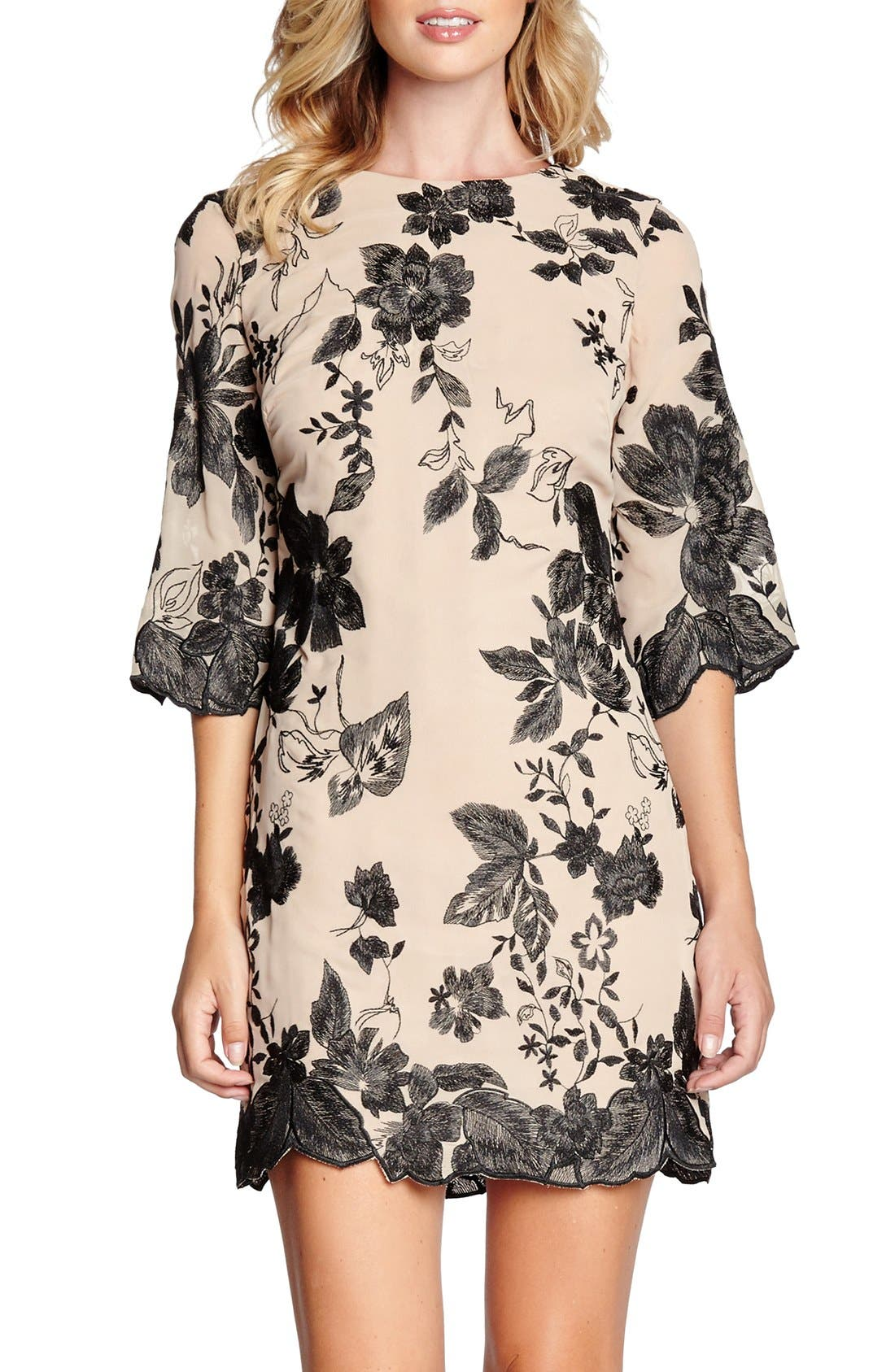 'Paige' Metallic Embroidered Chiffon Shift Dress,                             Main thumbnail 1, color,                             259