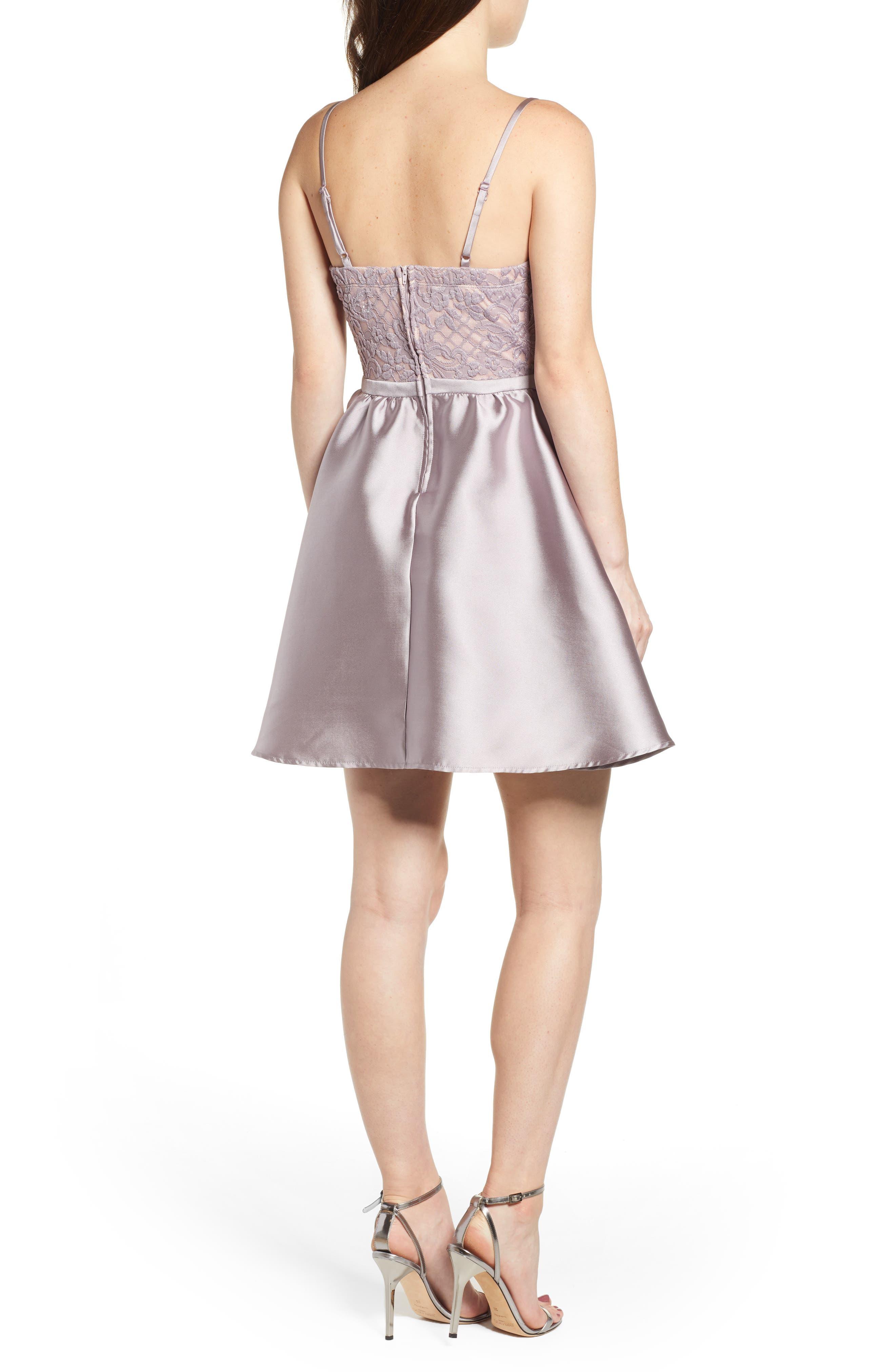 Lace & Taffeta Party Dress,                             Alternate thumbnail 2, color,                             MAUVE