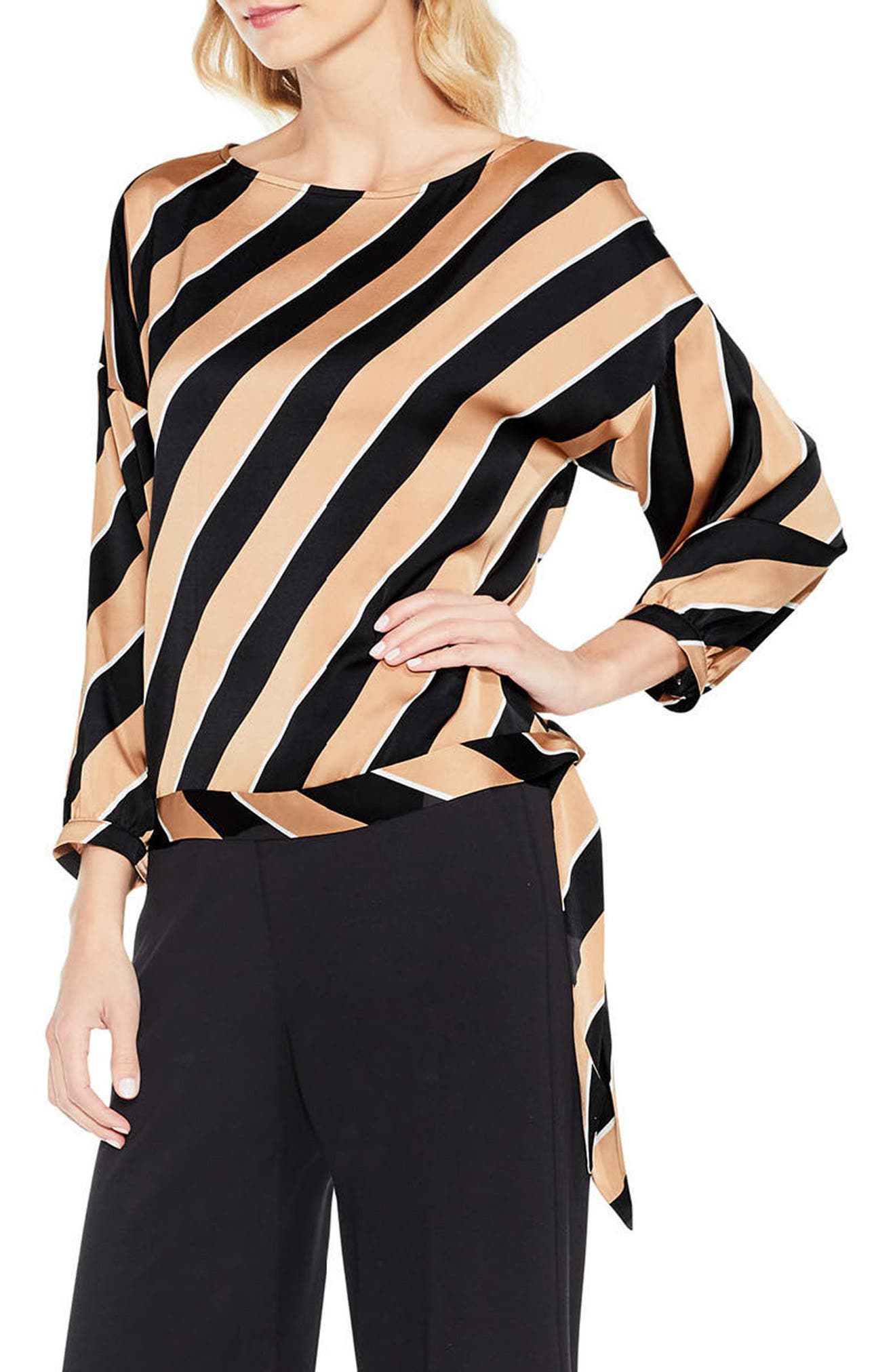 Tie Hem Diagonal Stripe Blouse,                         Main,                         color,