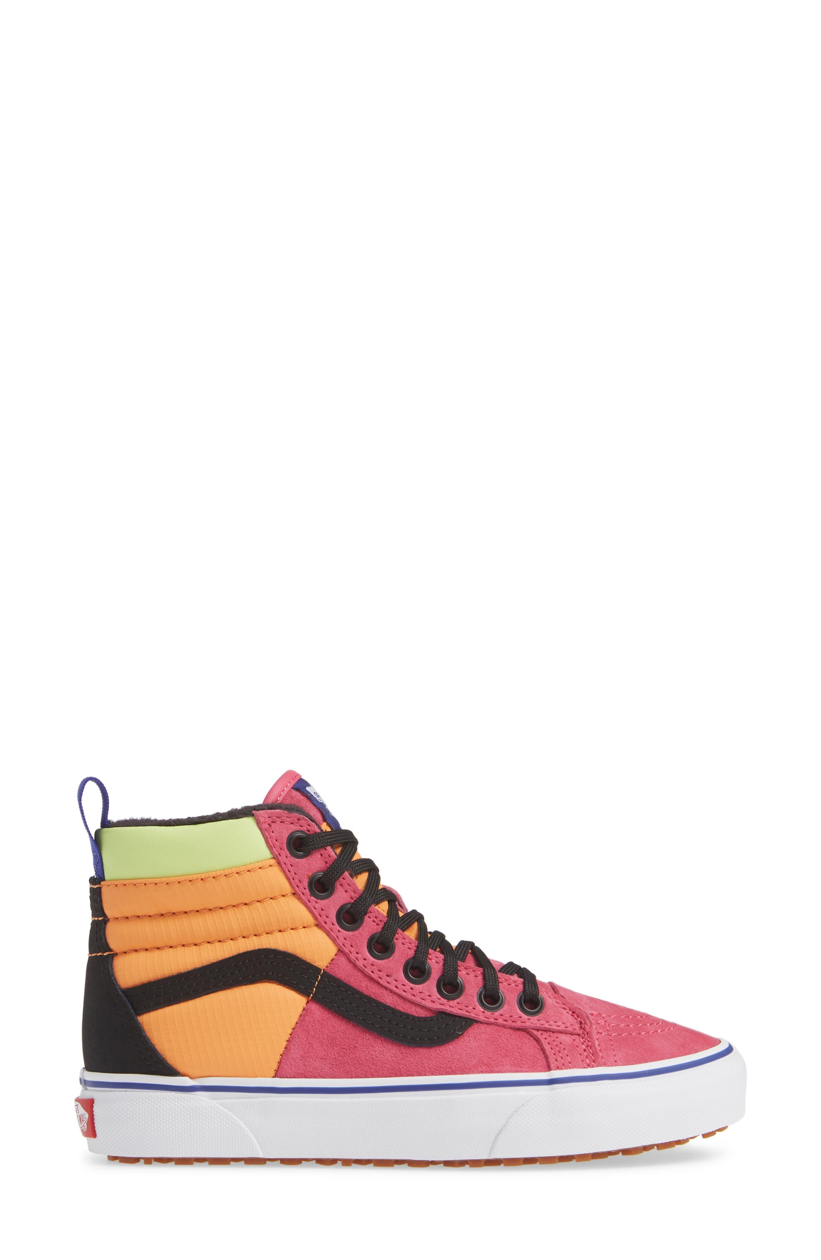 VANS,                             Sk8-Hi 46 MTE DX Sneaker,                             Alternate thumbnail 3, color,                             PINK YARROW/ TANGERINE/ BLACK