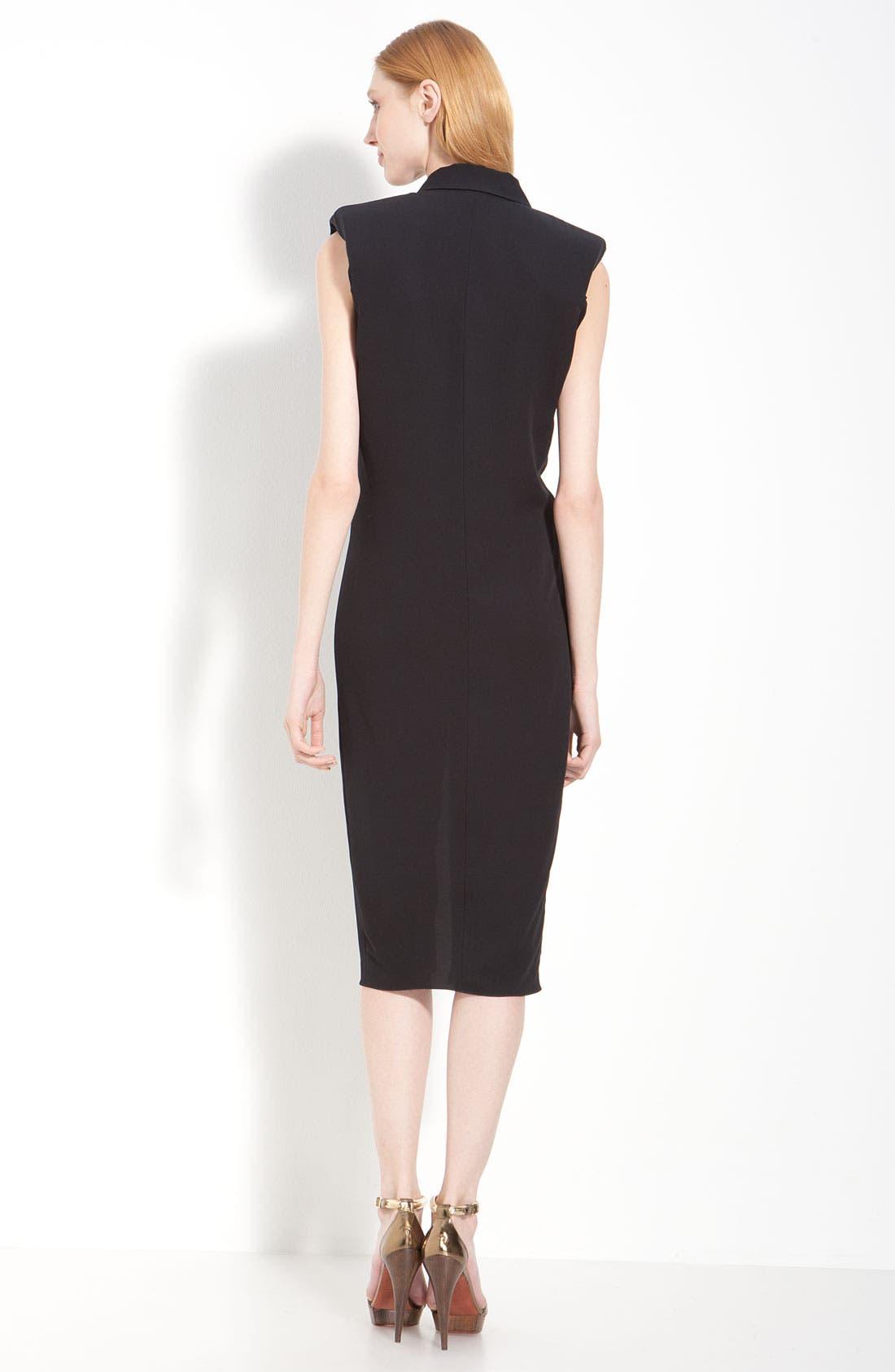 Crepe Georgette Tuxedo Dress,                             Alternate thumbnail 2, color,                             001