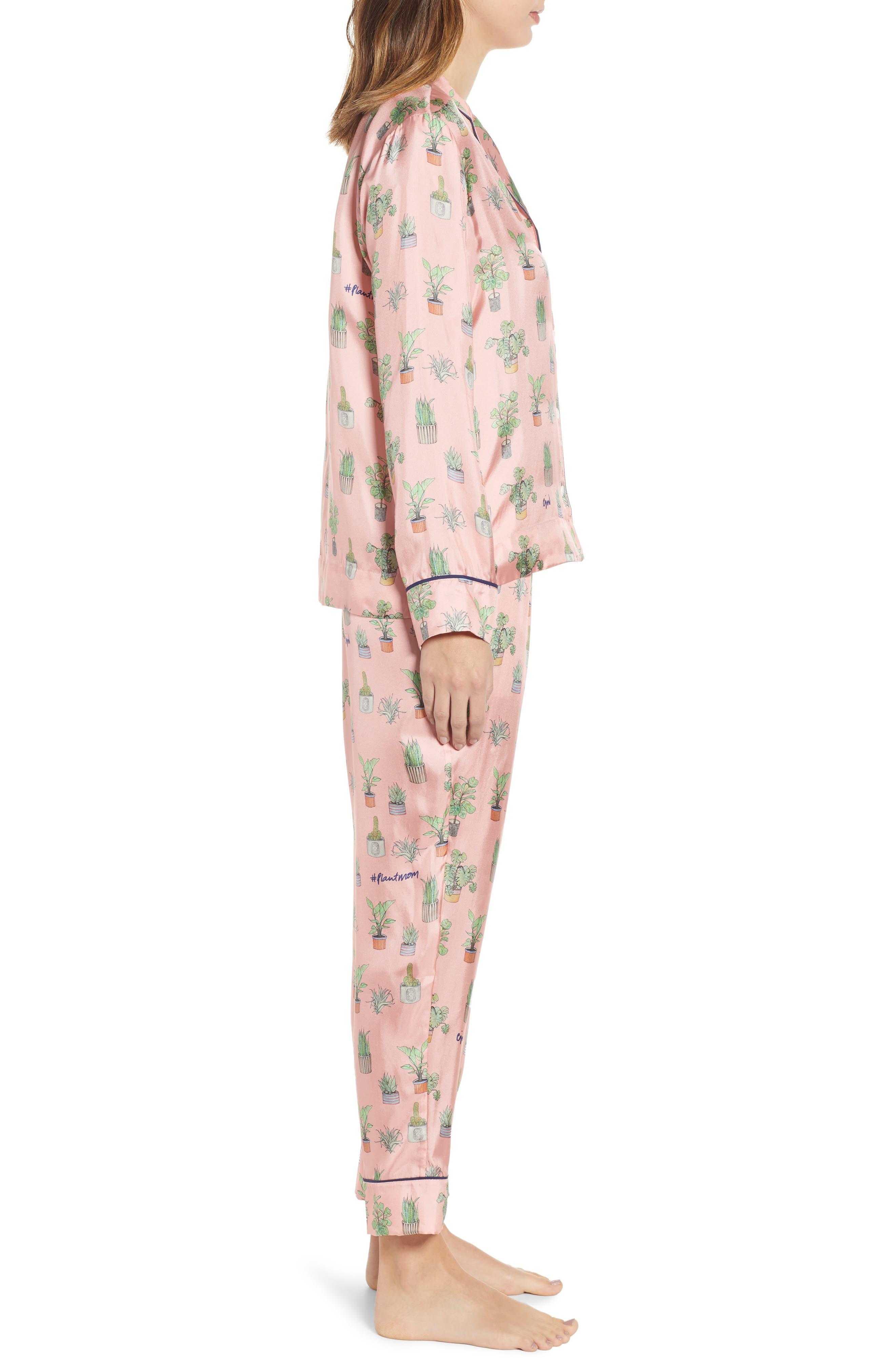 Plant Mom Silk Blend Pajamas & Eye Mask,                             Alternate thumbnail 3, color,                             650