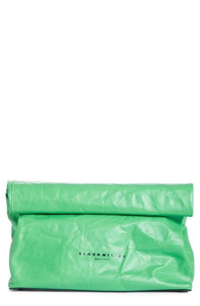 Simon Miller LUNCHBAG LEATHER ROLL TOP CLUTCH - GREEN