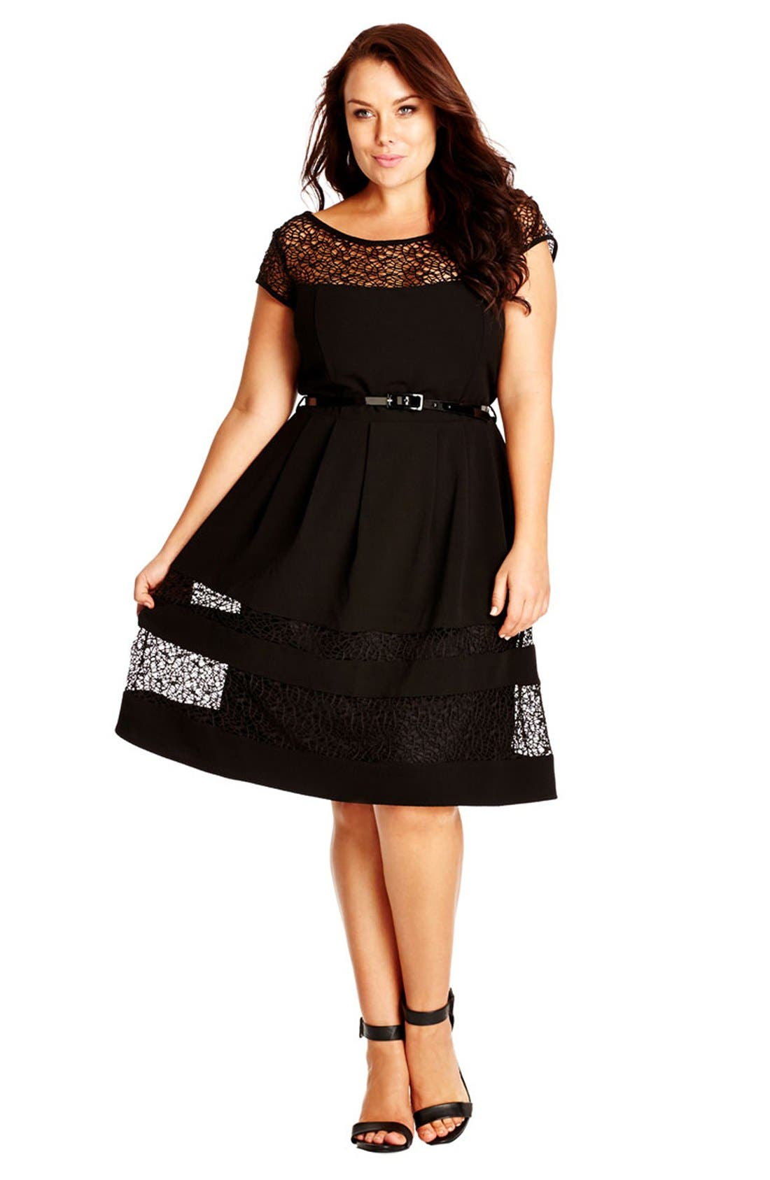Fit & Flare Dress with Delicate Lace Insets,                         Main,                         color, 001