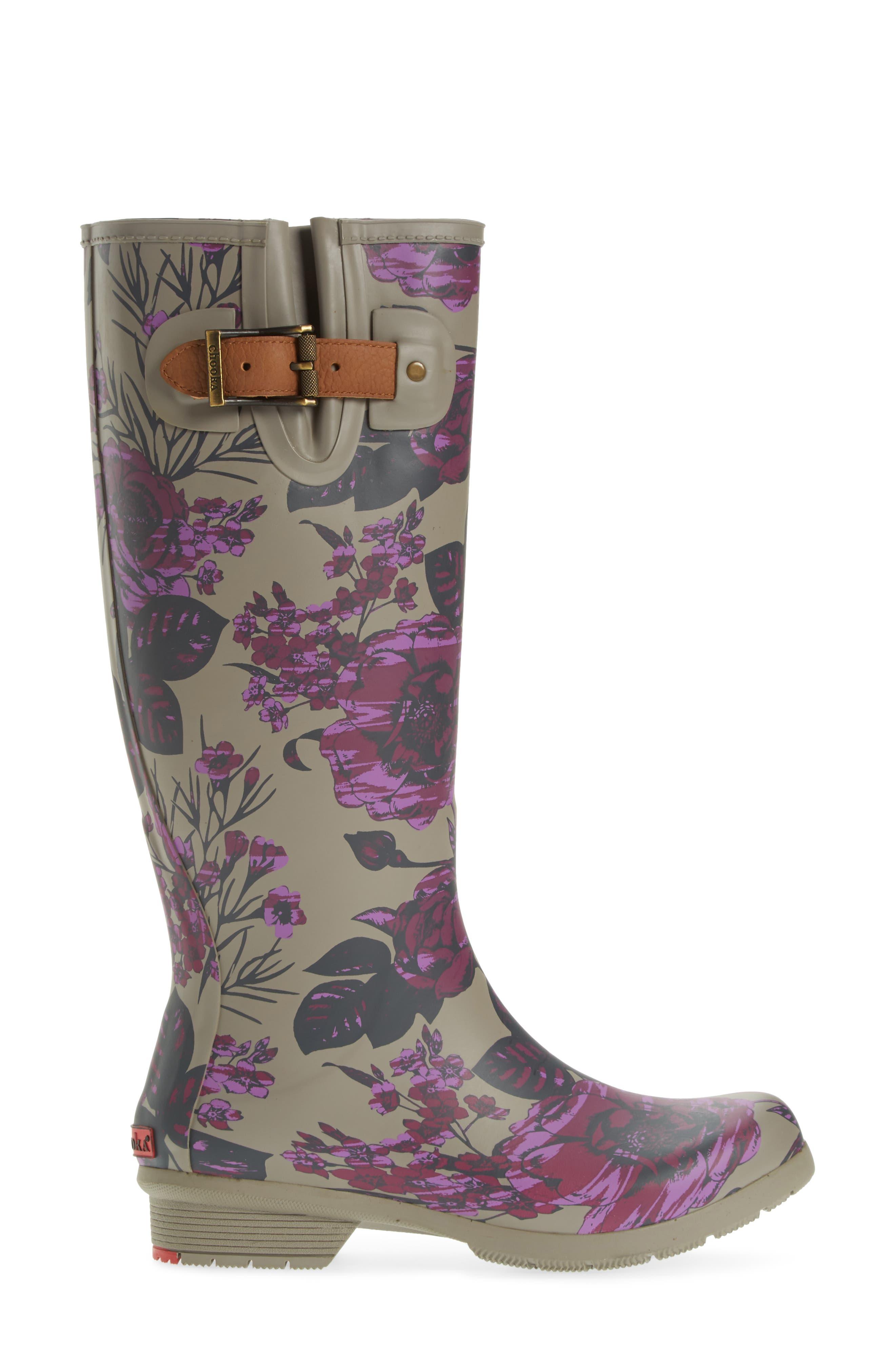 Hattie Tall Rain Boot,                             Alternate thumbnail 3, color,                             PLUM