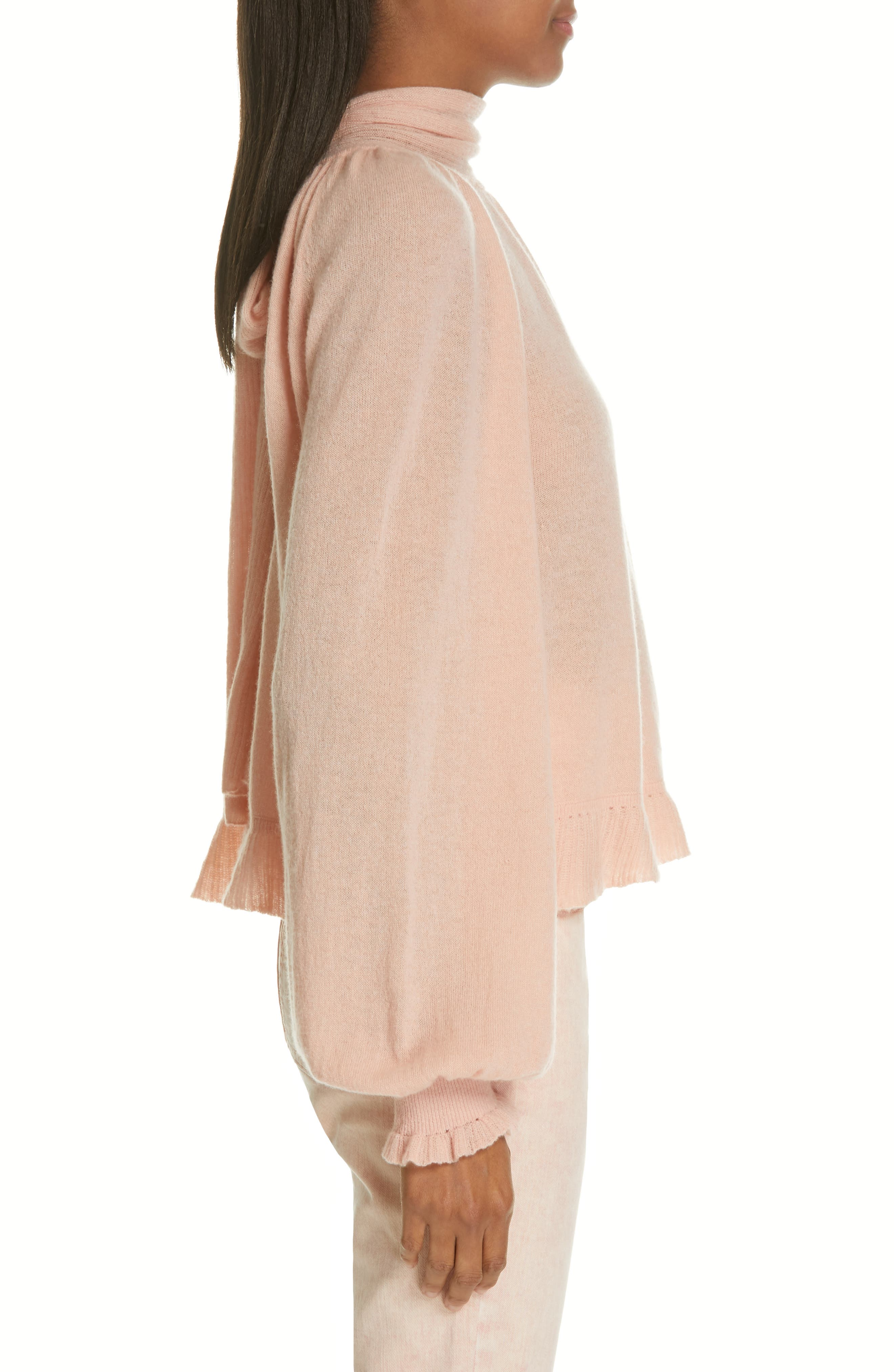 Clover Tie Back Cashmere Blend Sweater,                             Alternate thumbnail 3, color,                             ROSE