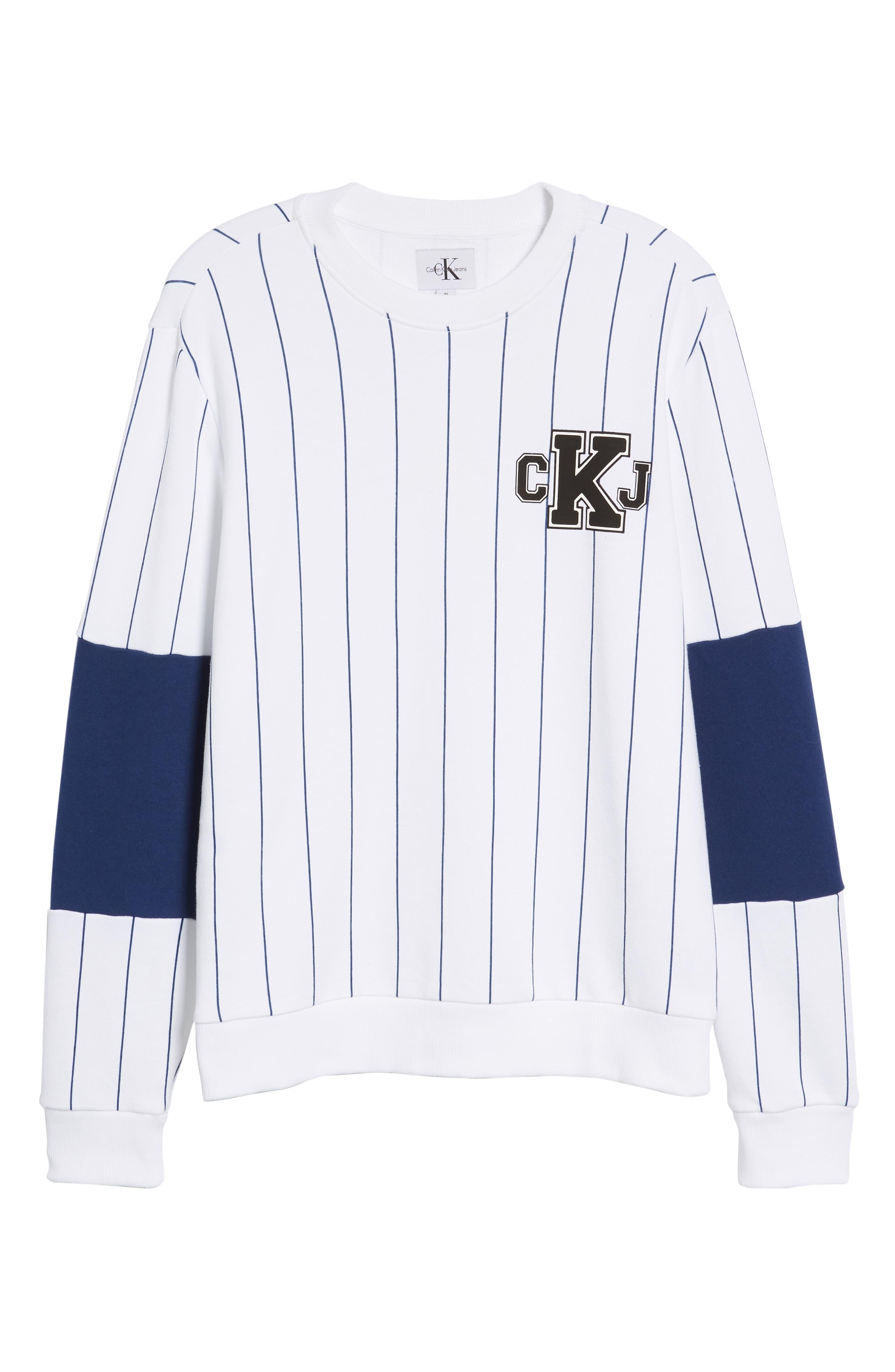 Stripe Blocked Sweatshirt,                             Alternate thumbnail 6, color,                             STANDARD WHITE