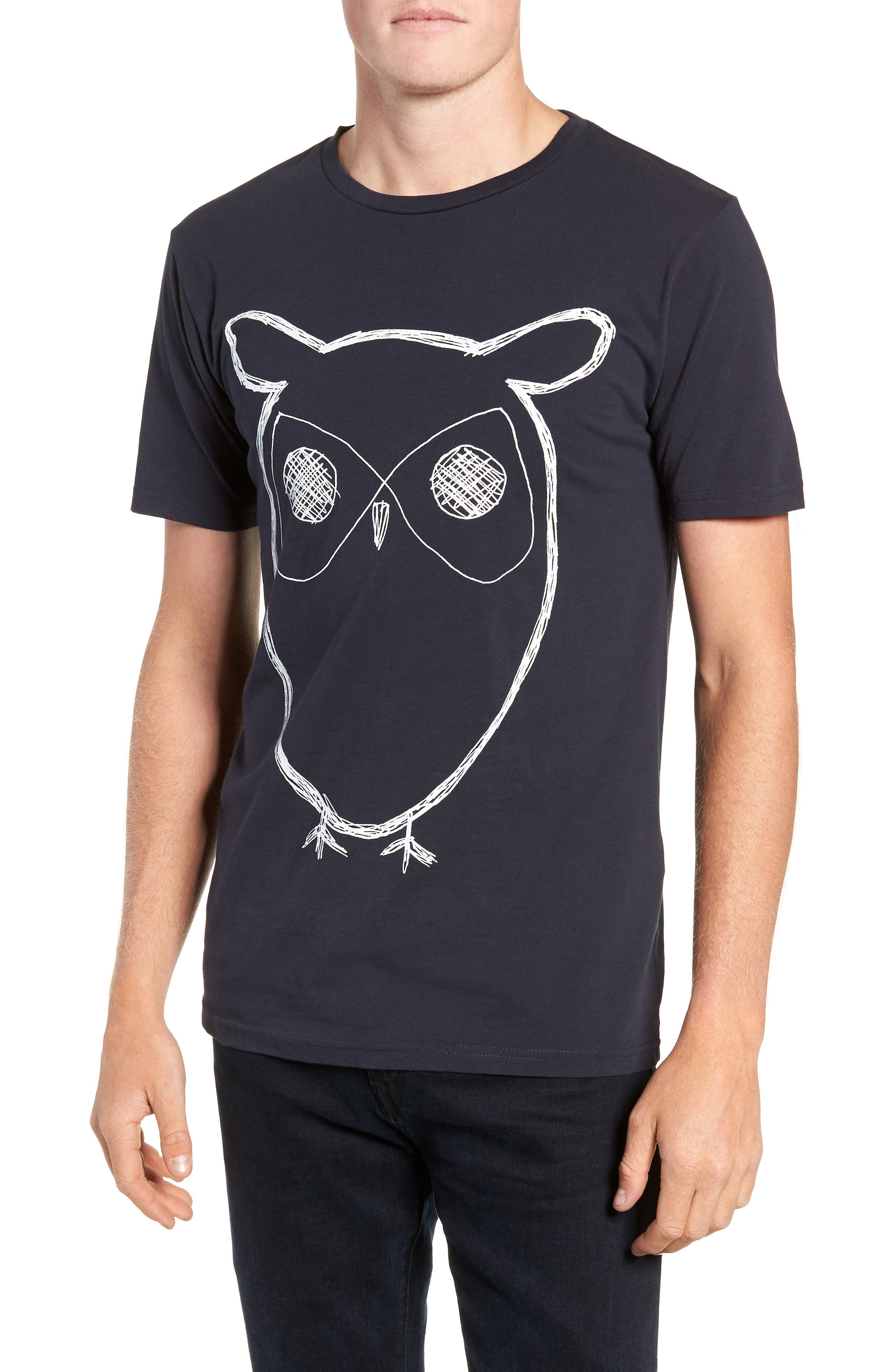 Big Owl Print T-Shirt,                             Main thumbnail 1, color,                             NAVY