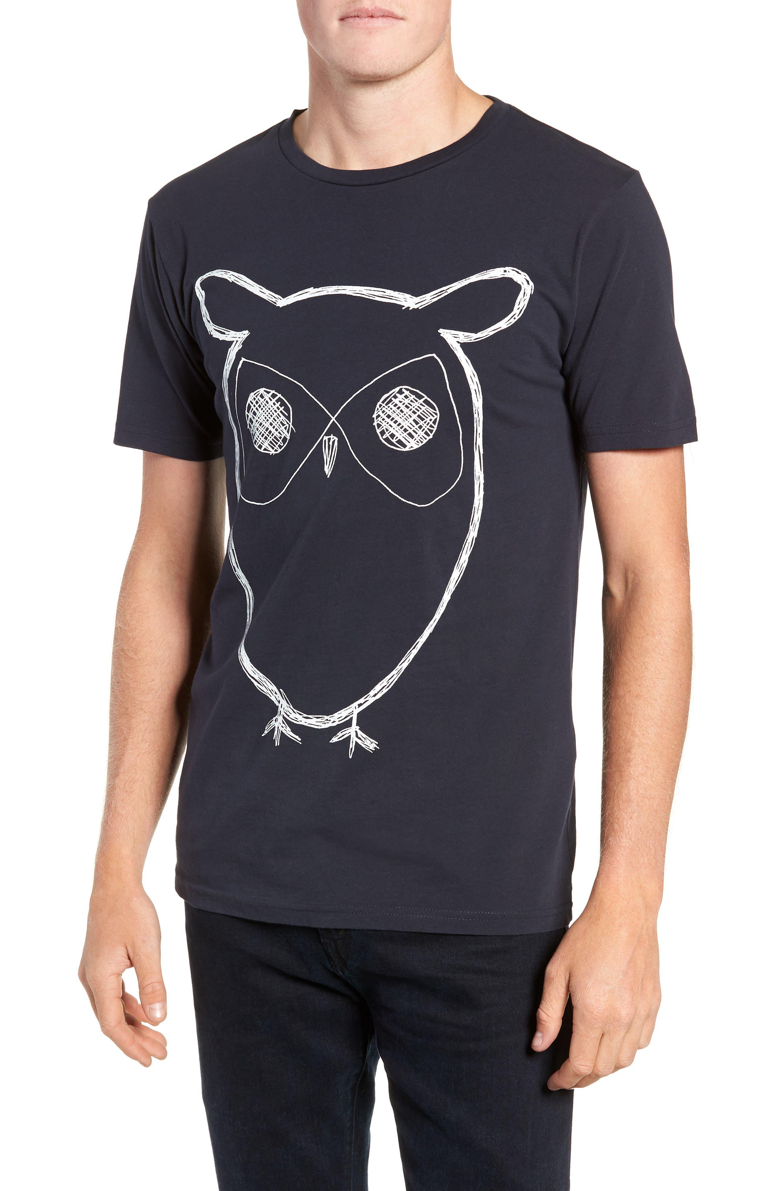 Big Owl Print T-Shirt,                         Main,                         color, NAVY