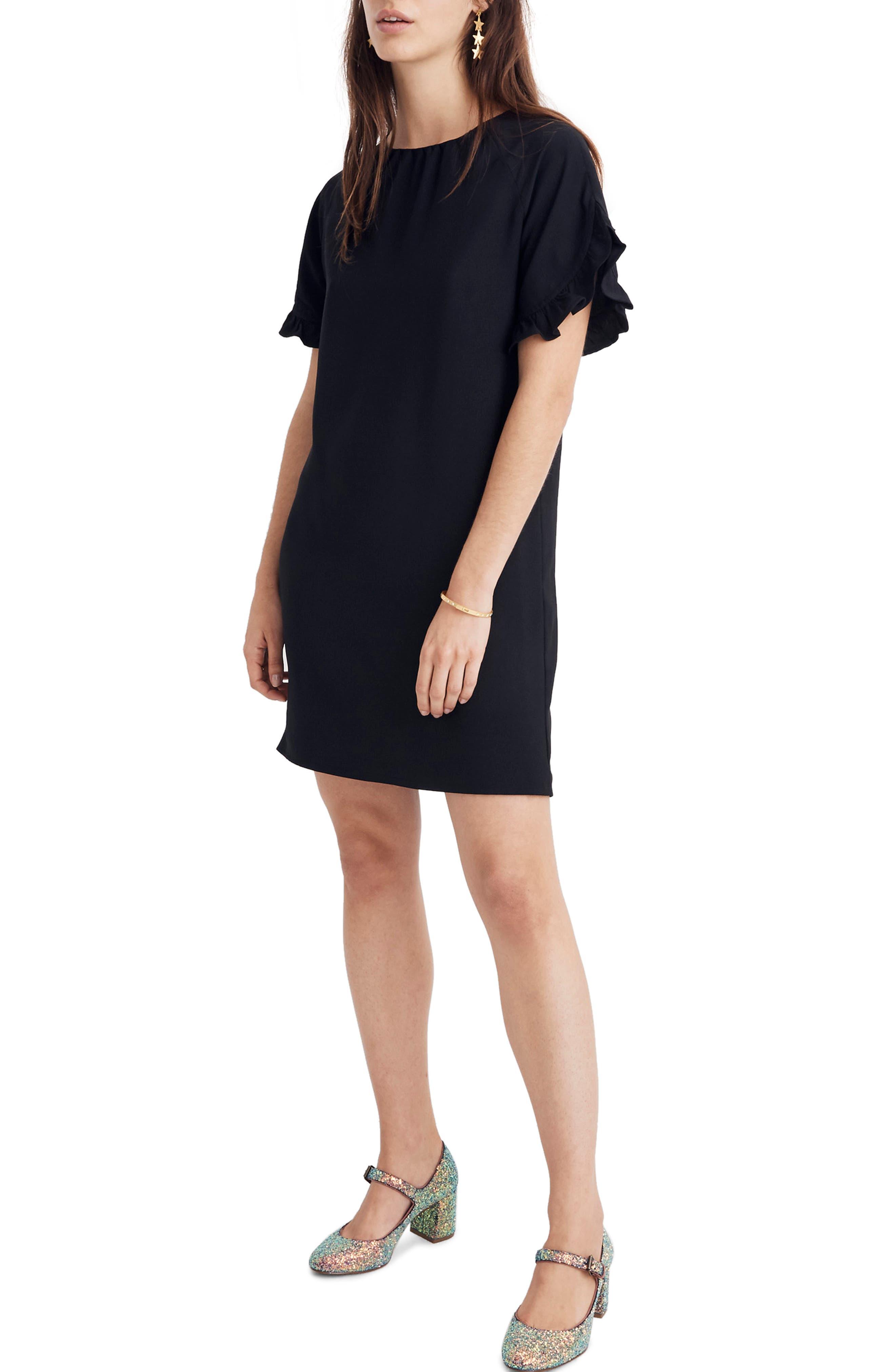 Madewell Memento Ruffle Sleeve Dress, Black