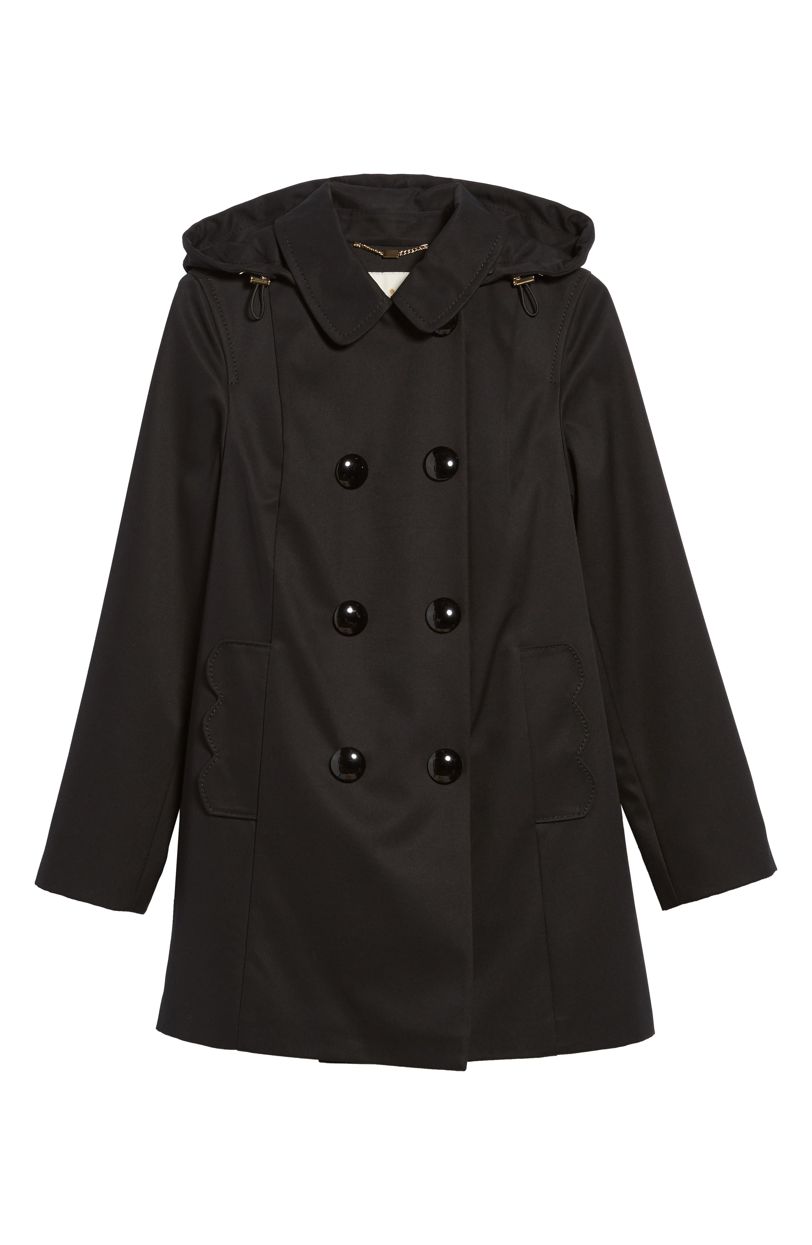 scallop pocket a-line raincoat,                             Alternate thumbnail 5, color,                             001