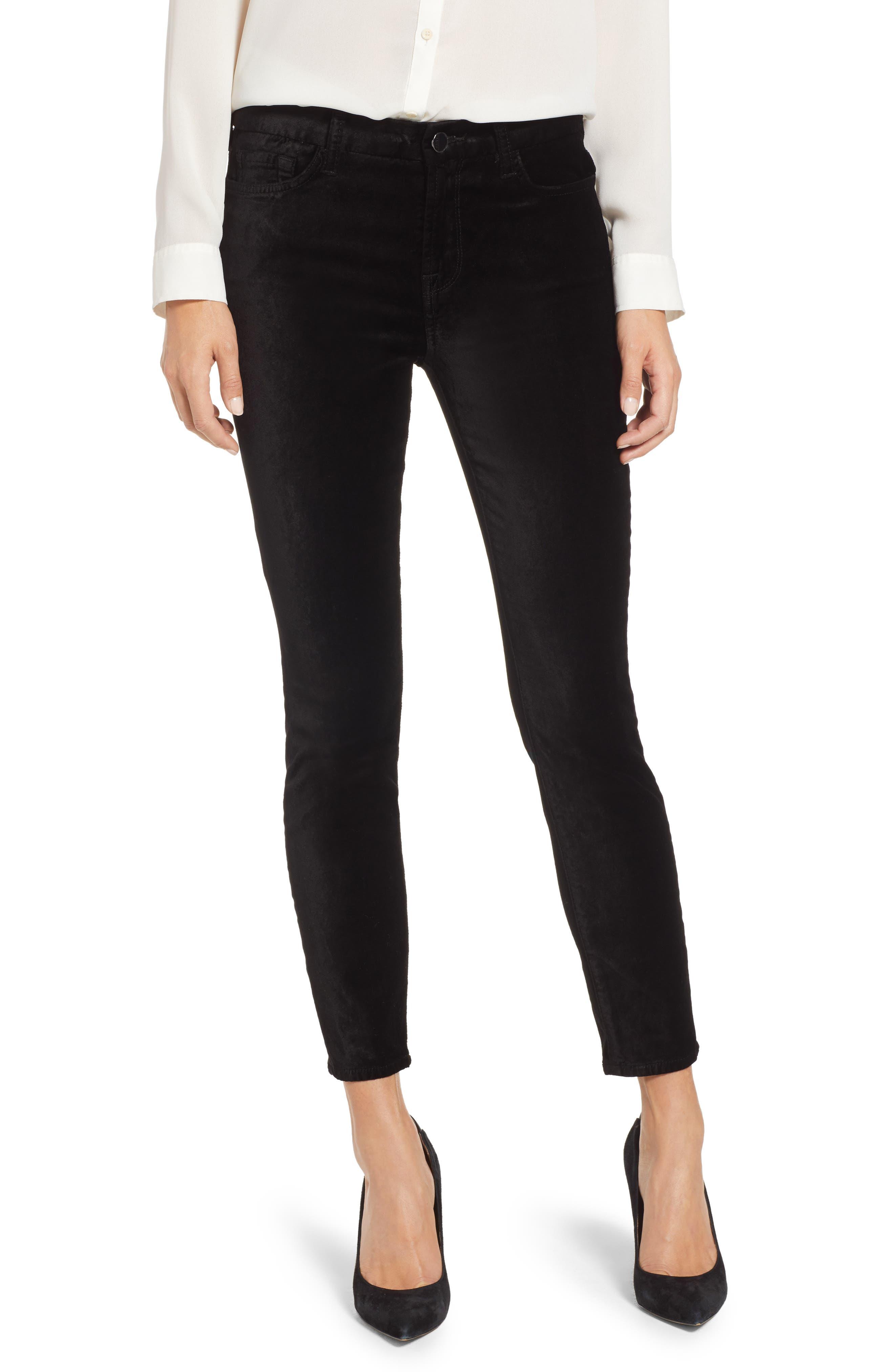 Velvet Ankle Skinny High Waist Pants in Black