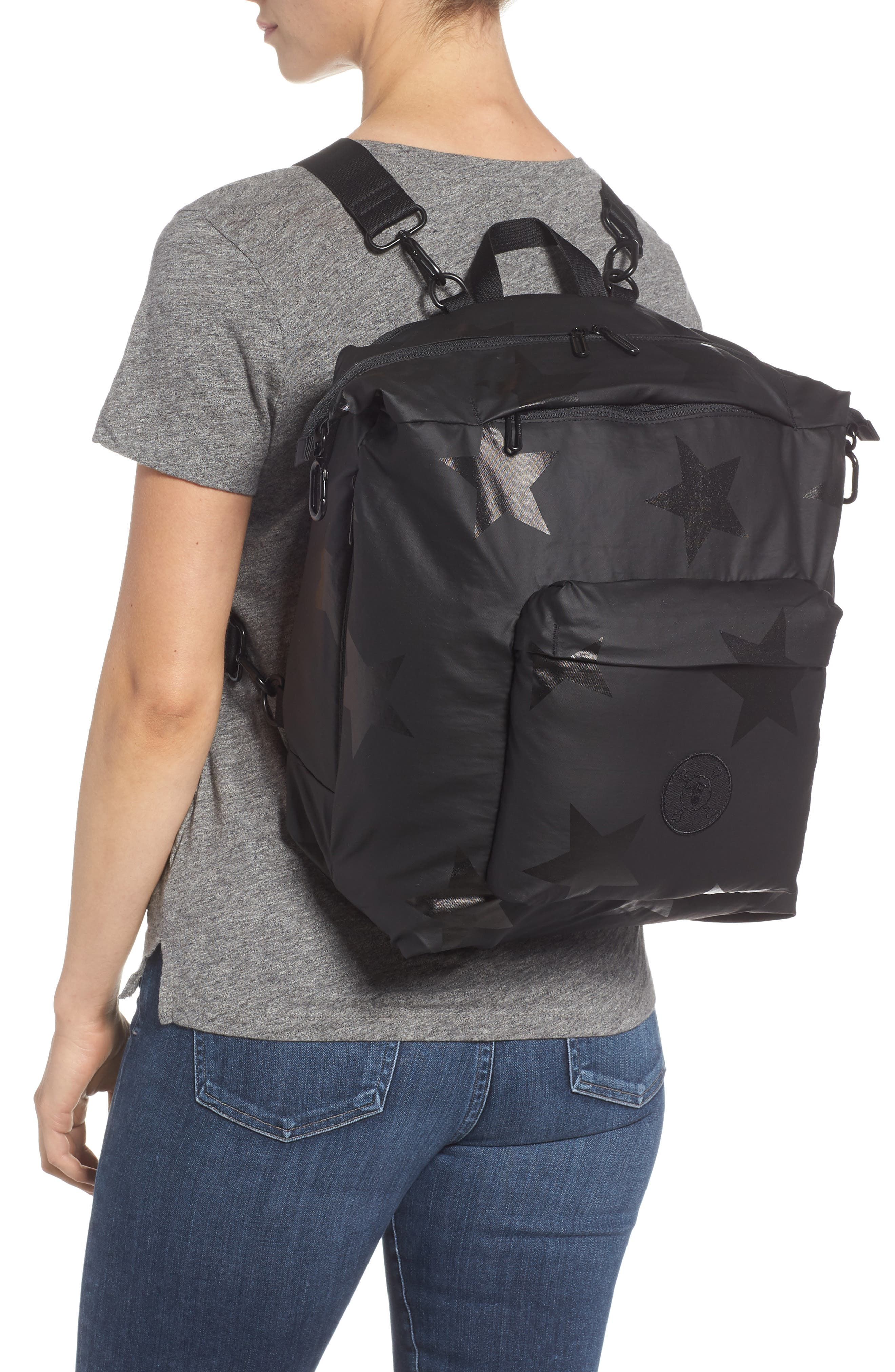 +one duo Nylon Convertible Diaper Bag,                             Alternate thumbnail 2, color,                             BLACK STAR