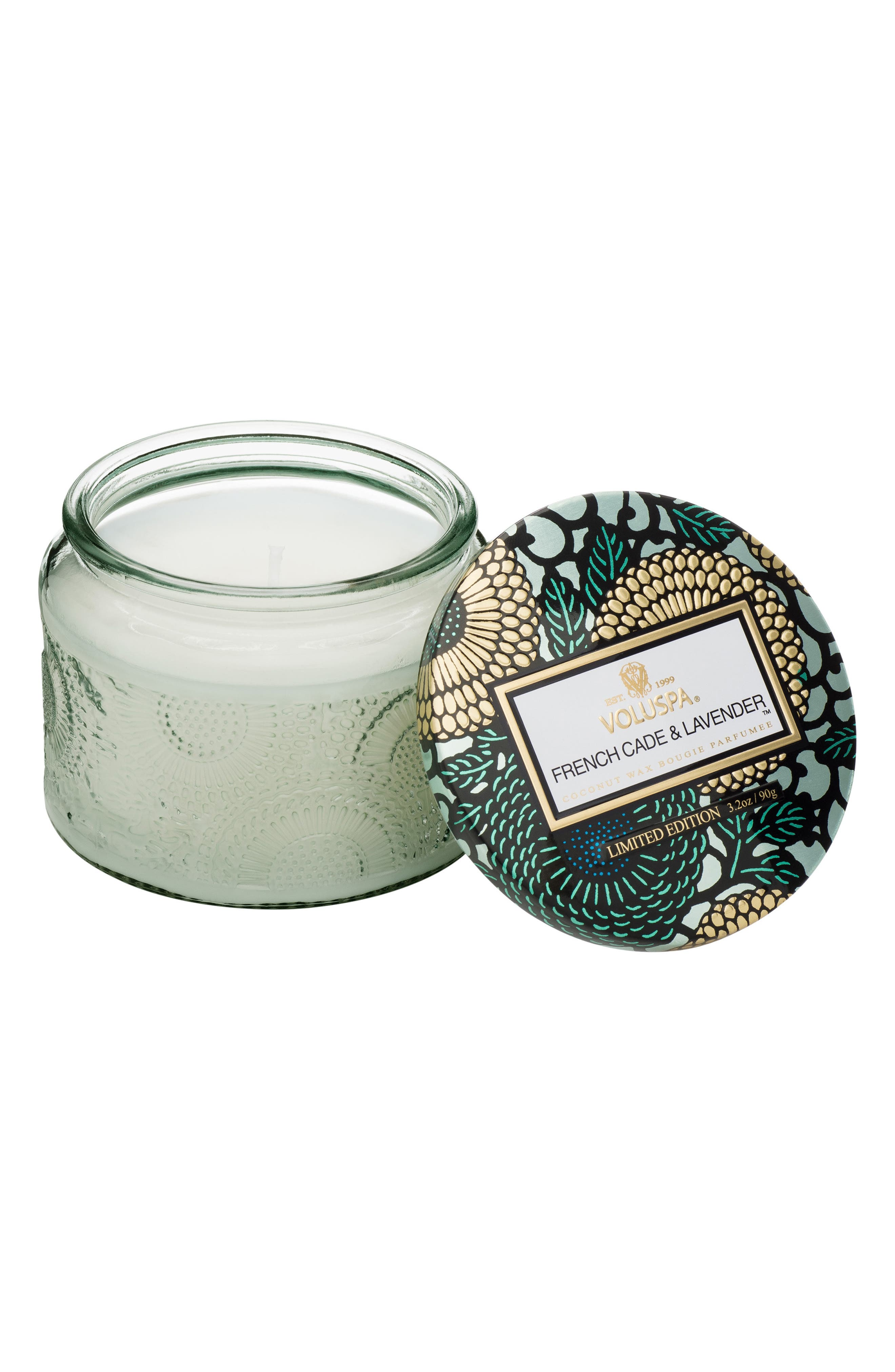 Japonica French Cade Lavender Petite Embossed Glass Jar Candle,                             Alternate thumbnail 2, color,                             NO COLOR