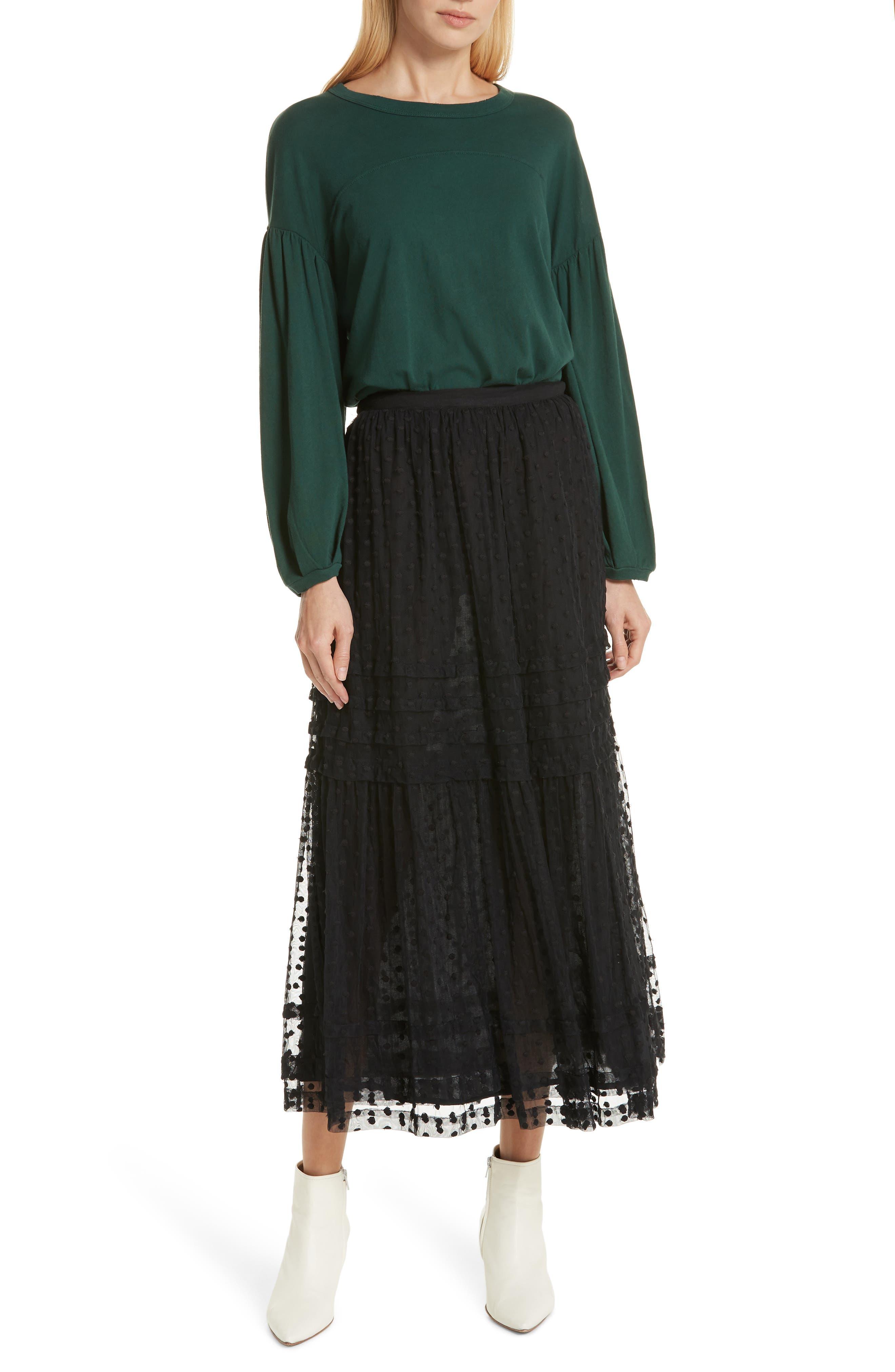 The Sway Polka Dot Mesh Skirt,                             Alternate thumbnail 7, color,                             BLACK