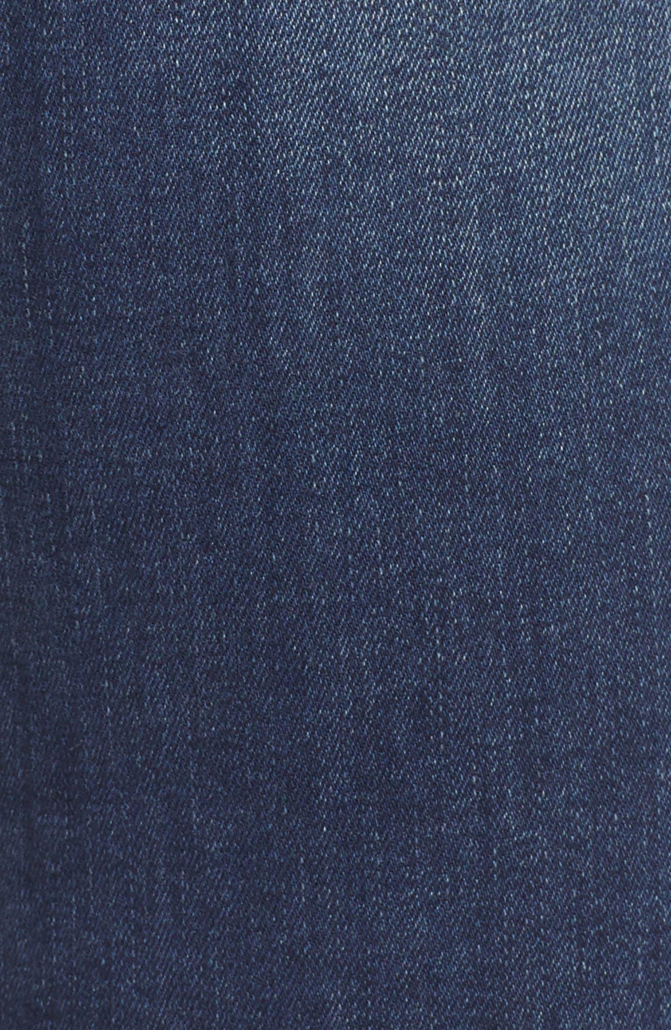 Santana High Waist Skinny Jeans,                             Alternate thumbnail 6, color,                             NEDDLE DARK BLUE STRETCH