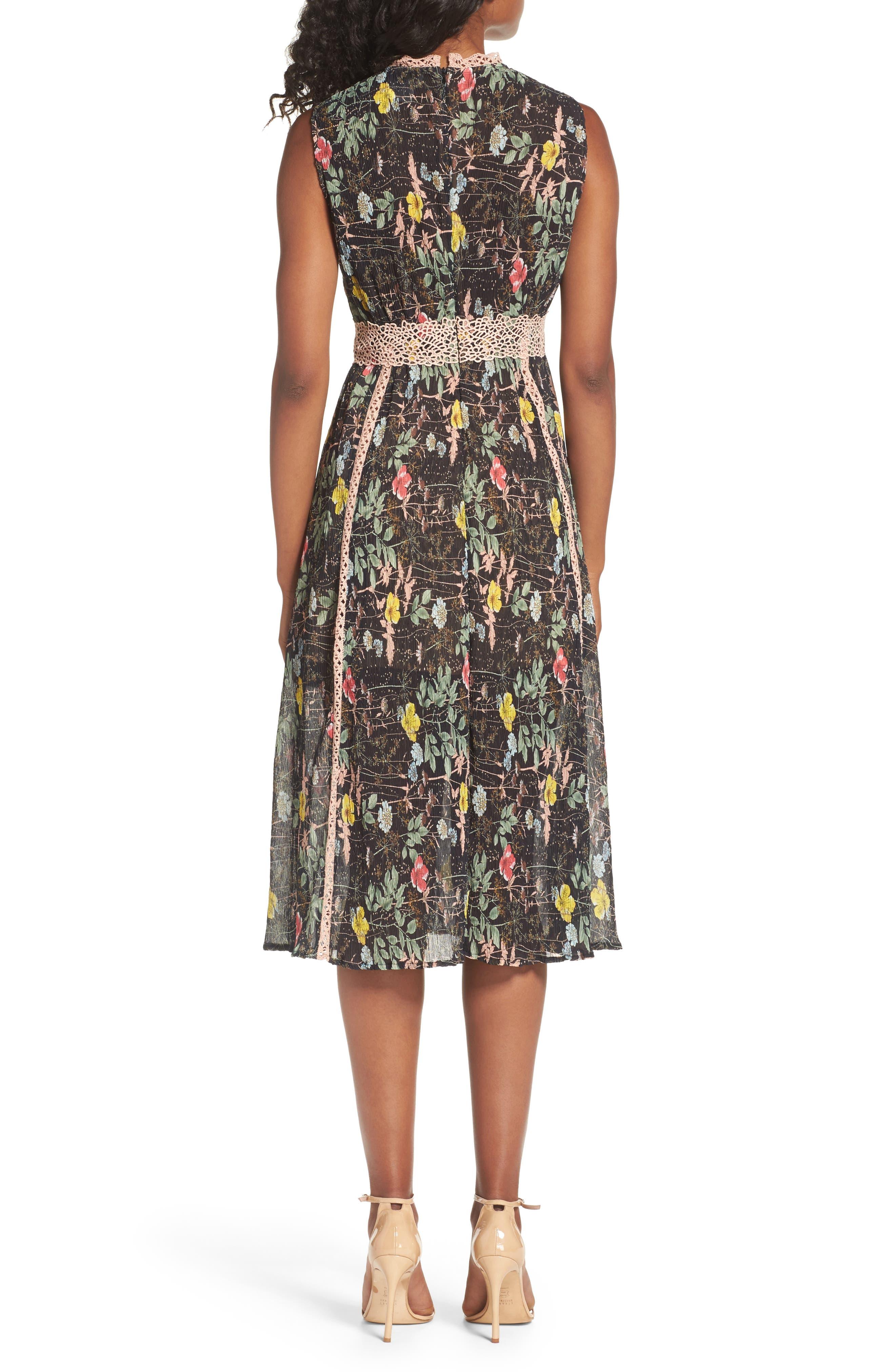 FOXIEDOX,                             Kinsey Print Gauze Midi Dress,                             Alternate thumbnail 2, color,                             009