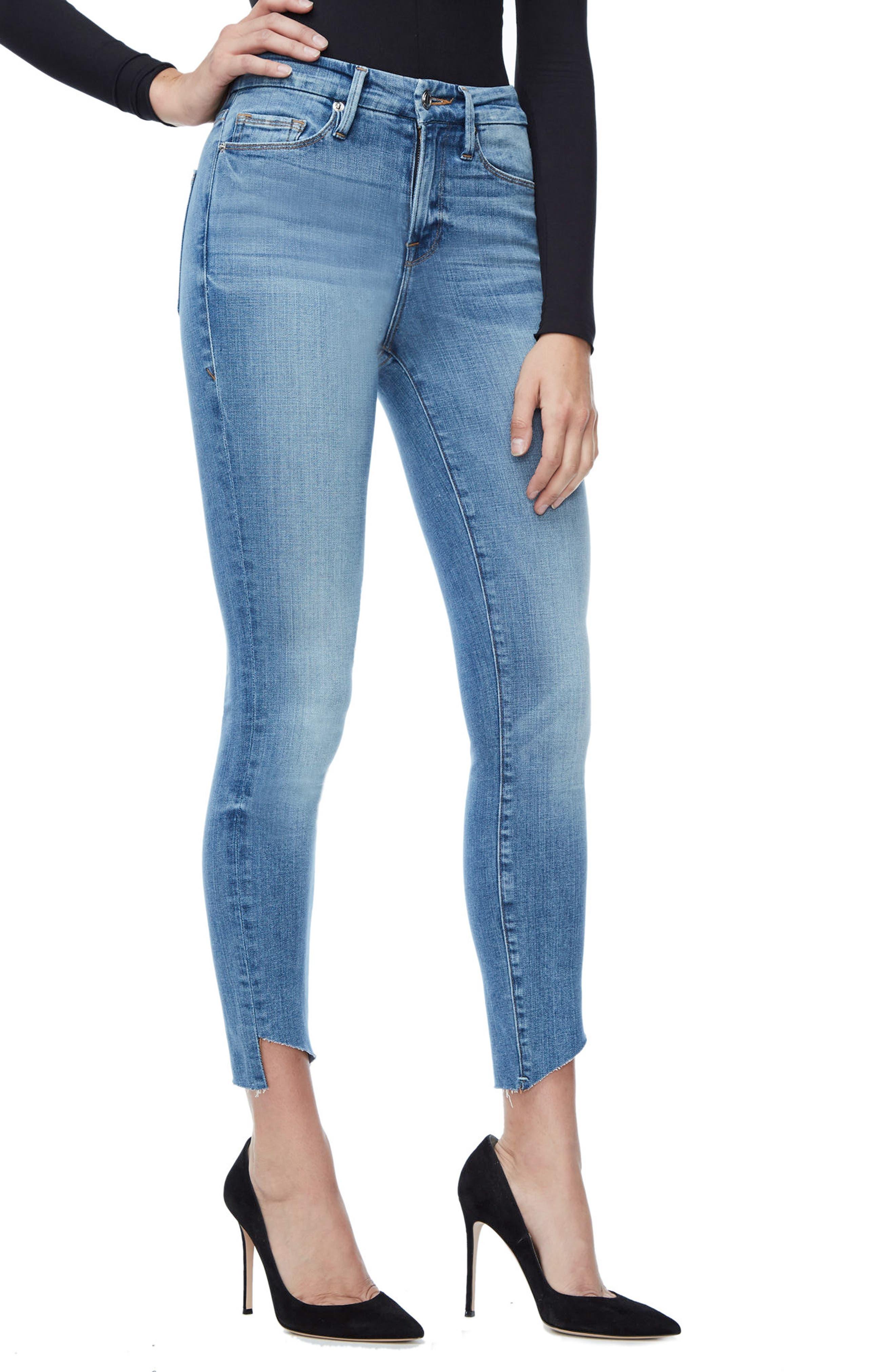 Good Legs High Waist Cascade Hem Skinny Jeans,                             Alternate thumbnail 3, color,                             401