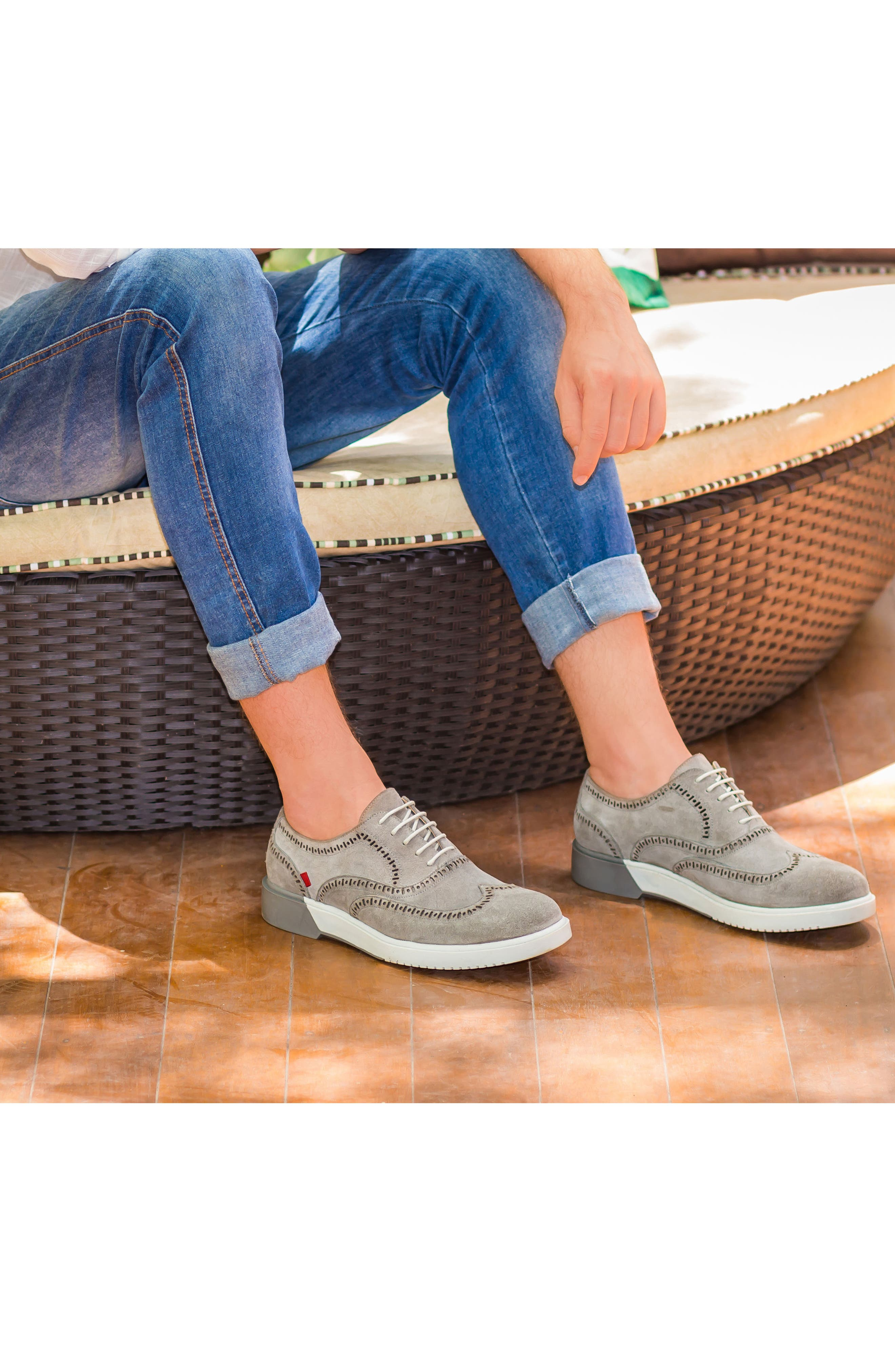 5th Ave Wingtip Sneaker,                             Alternate thumbnail 8, color,                             GREY SUEDE