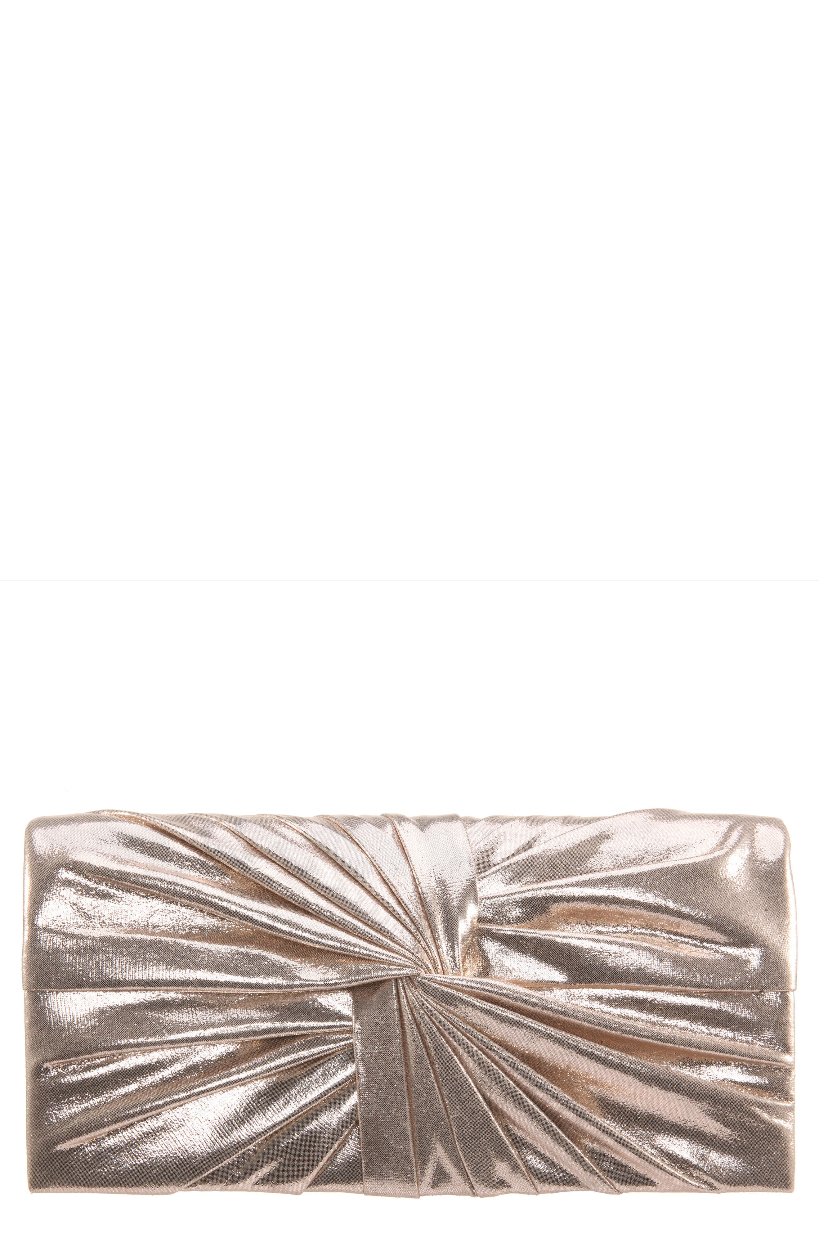 Durham Twisted Knot Clutch,                             Main thumbnail 1, color,                             GOLD