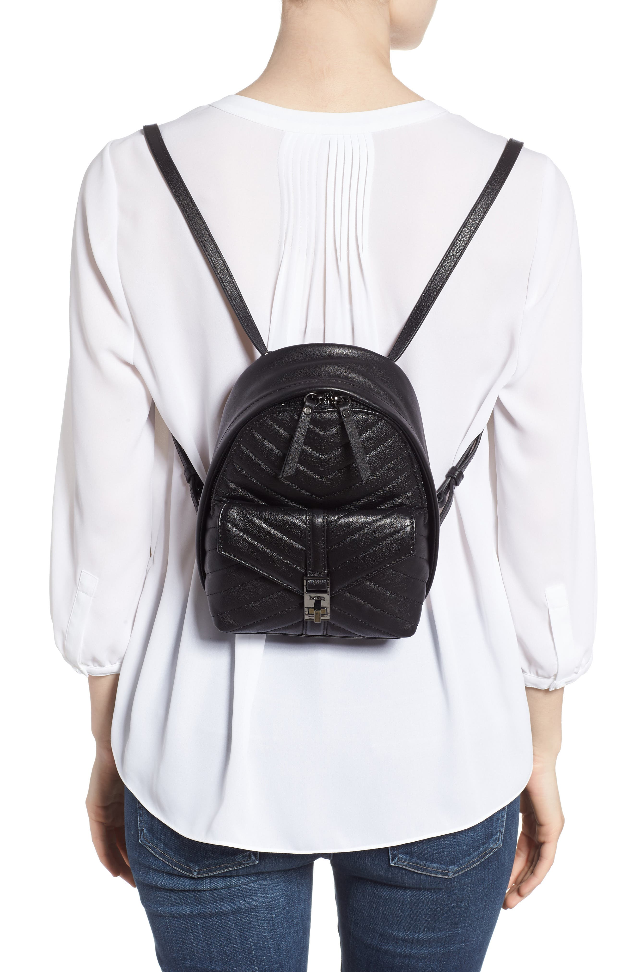 Dakota Quilted Leather Backpack,                             Alternate thumbnail 2, color,                             001