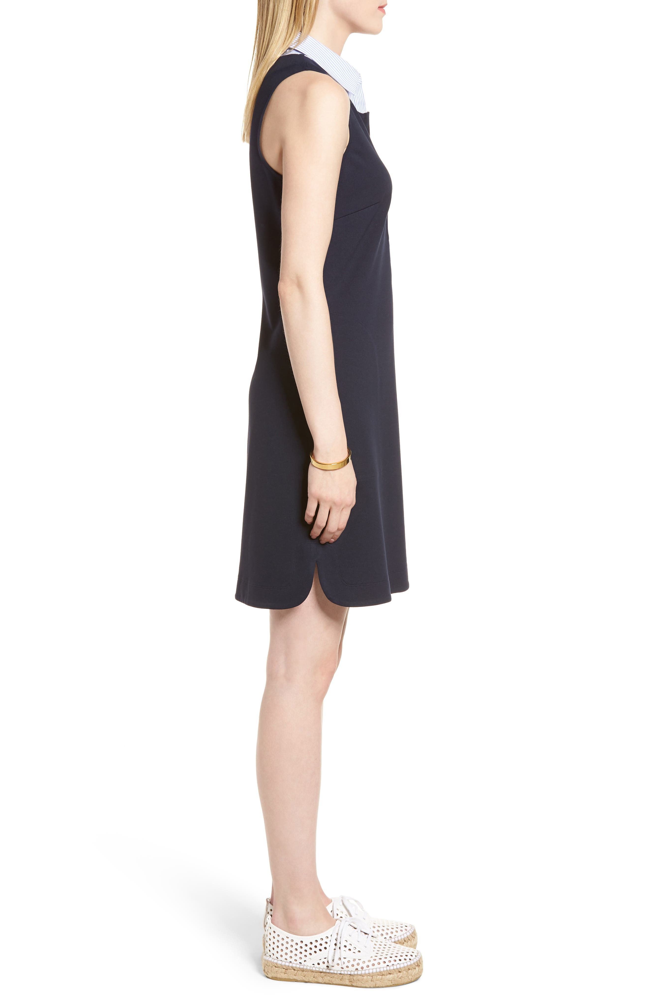 Poplin Collar Knit Dress,                             Alternate thumbnail 3, color,                             410