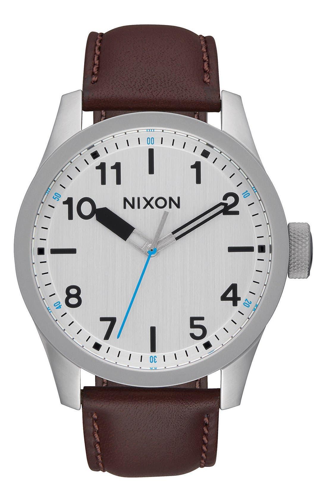 'Safari' Leather Strap Watch, 43mm,                             Main thumbnail 3, color,