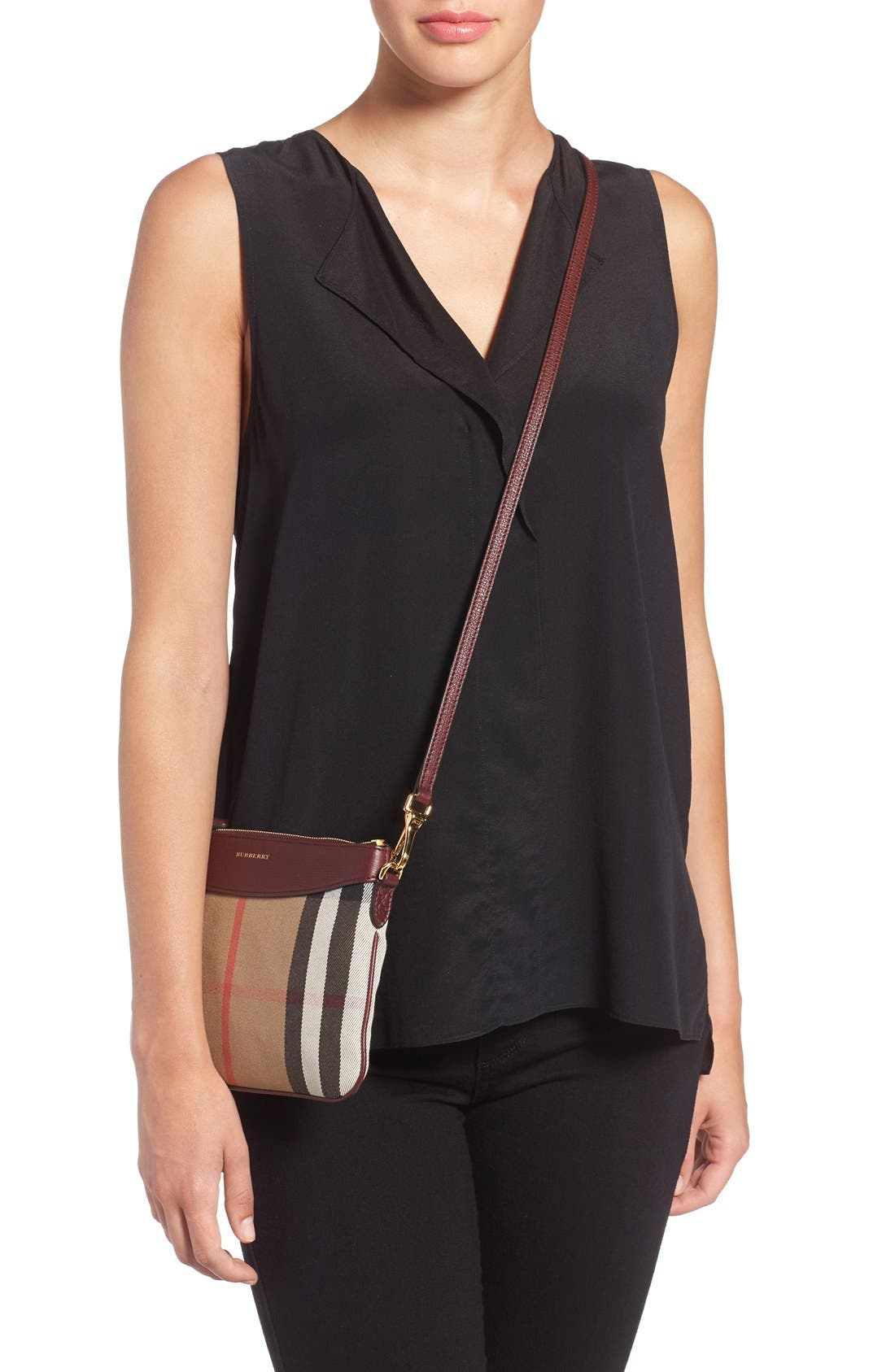 'Peyton - House Check' Crossbody Bag,                             Alternate thumbnail 2, color,                             606
