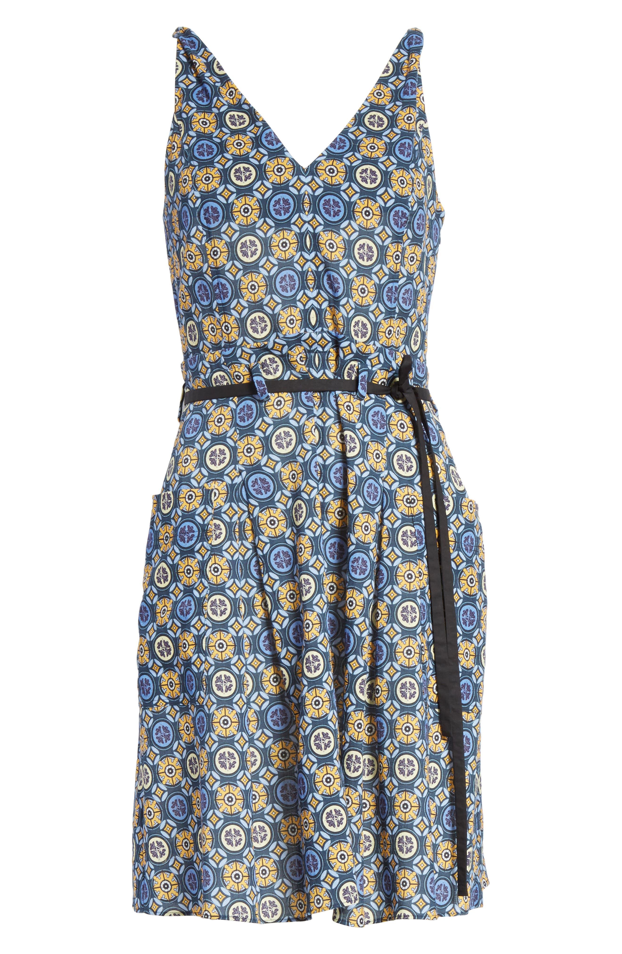 Tile Pattern Cotton Dress,                             Alternate thumbnail 6, color,                             452