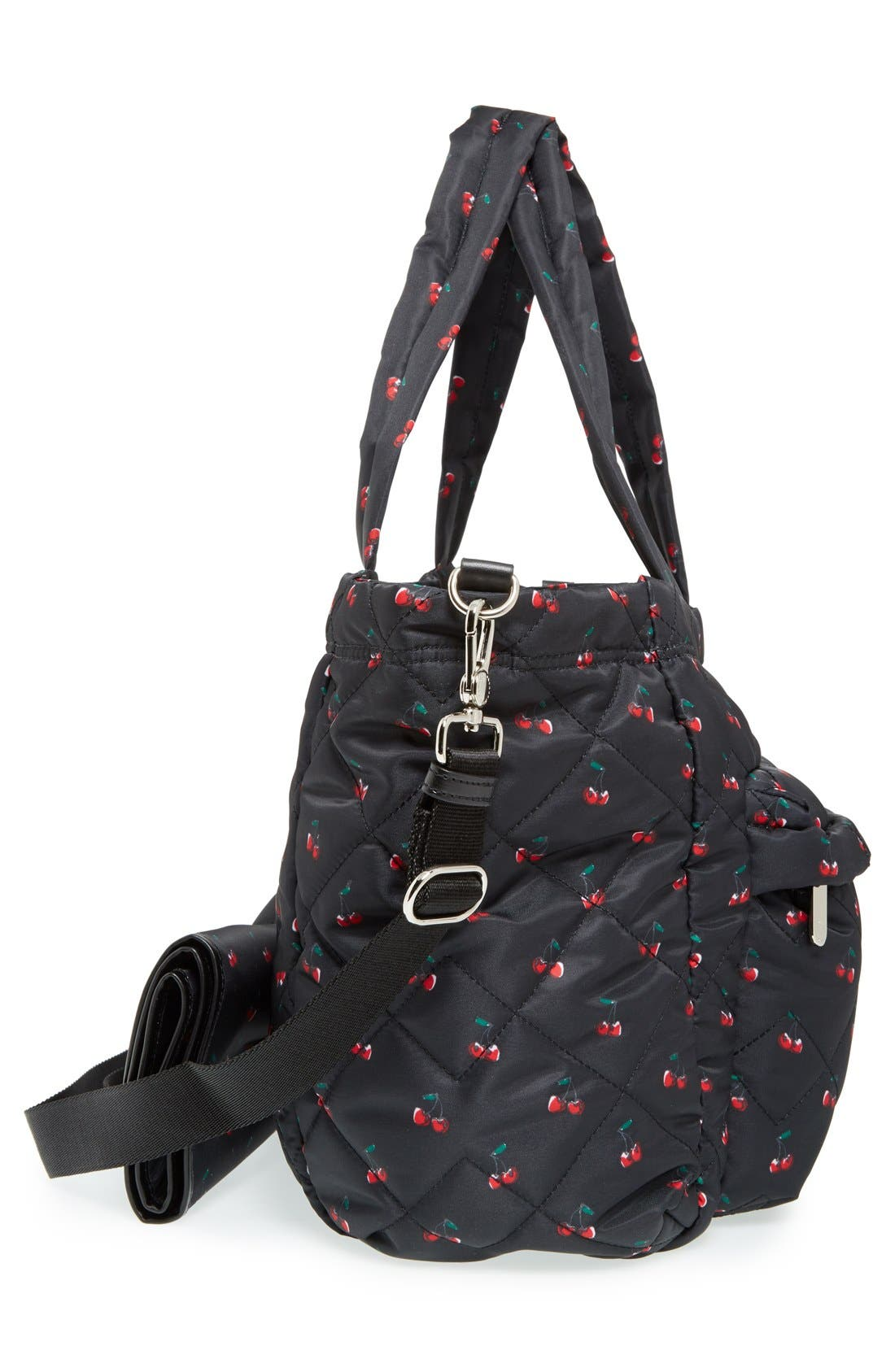 MARC JACOBS,                             MARC BY MARC JACOBS 'Crosby - Elizababy' Quilted Fruit Print Diaper Bag,                             Alternate thumbnail 3, color,                             001