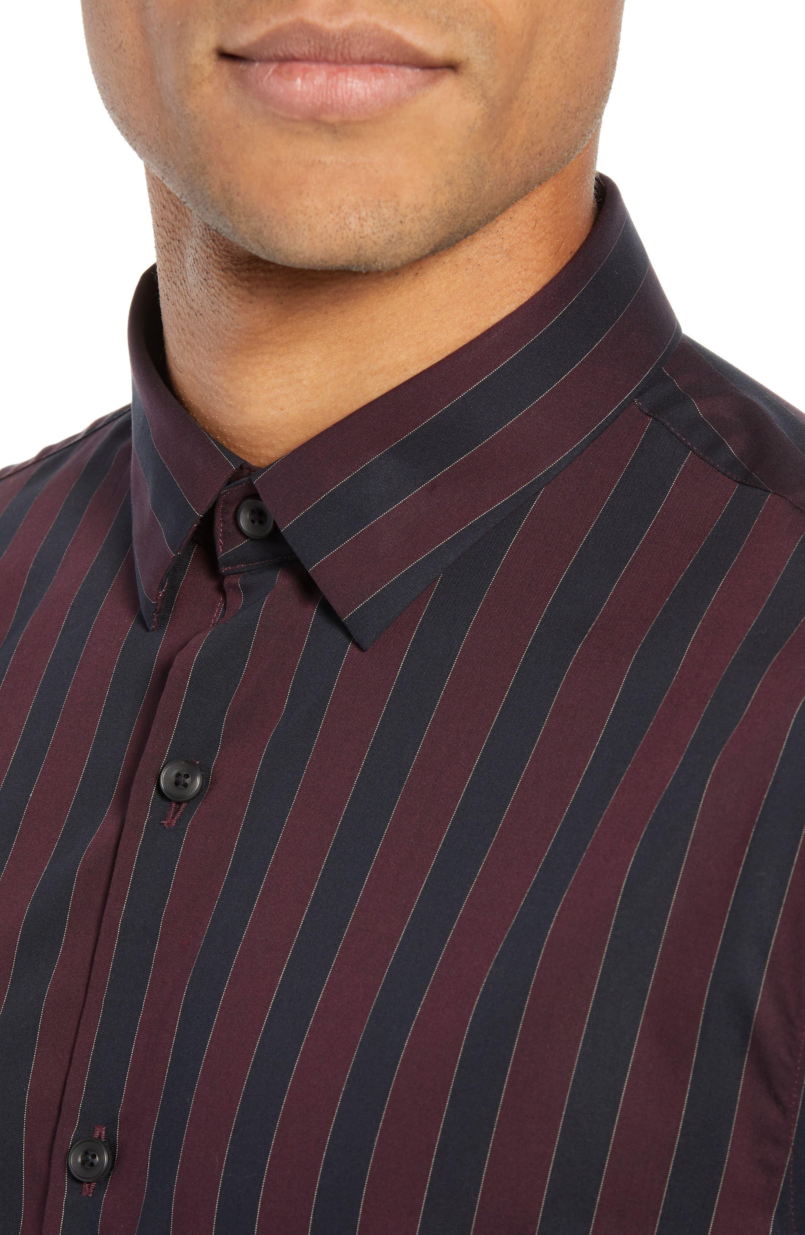 Trim Fit Non-Iron Stripe Sport Shirt,                             Alternate thumbnail 2, color,                             938