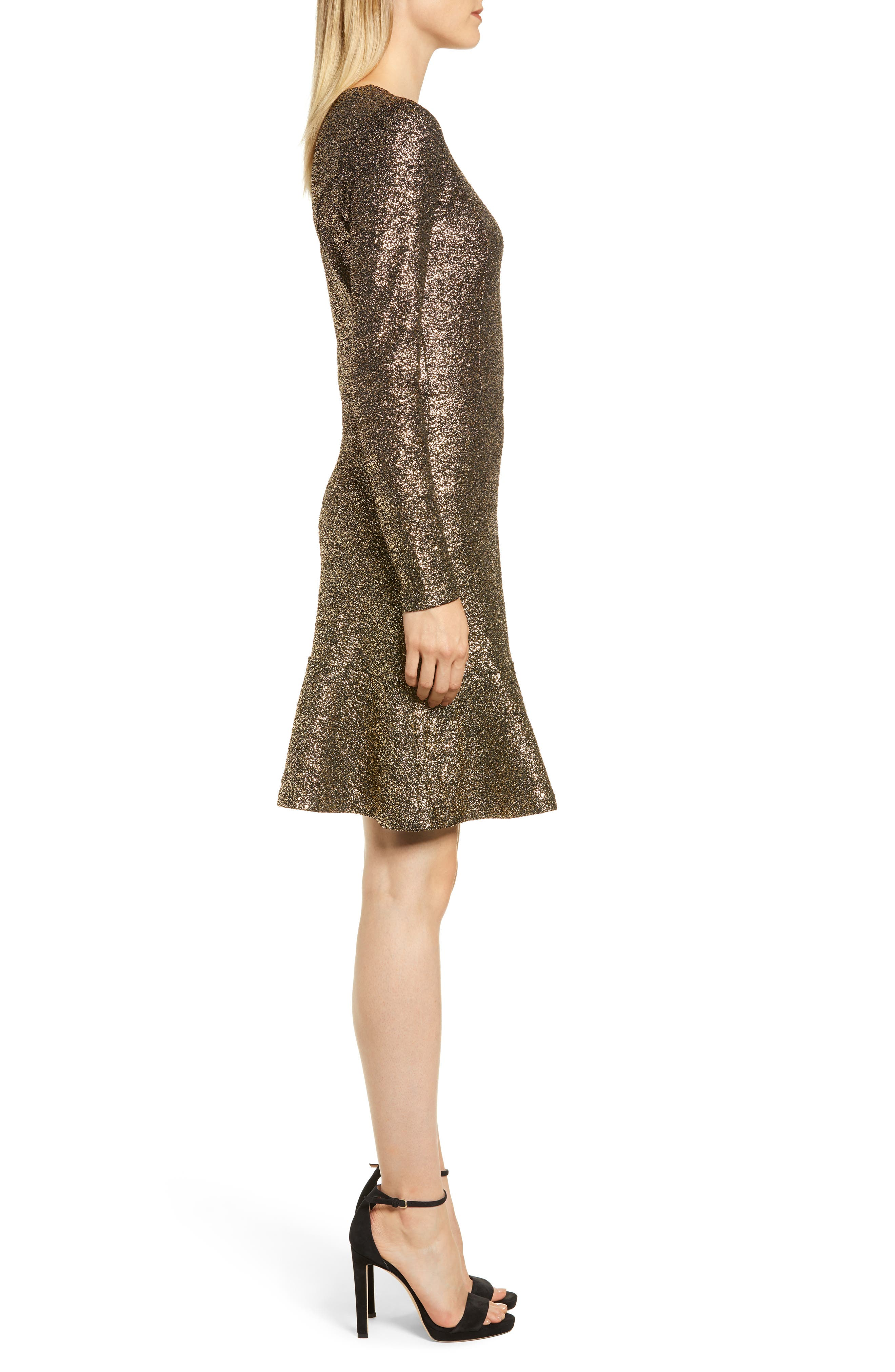 Foil Knit Flounce Dress,                             Alternate thumbnail 3, color,                             001
