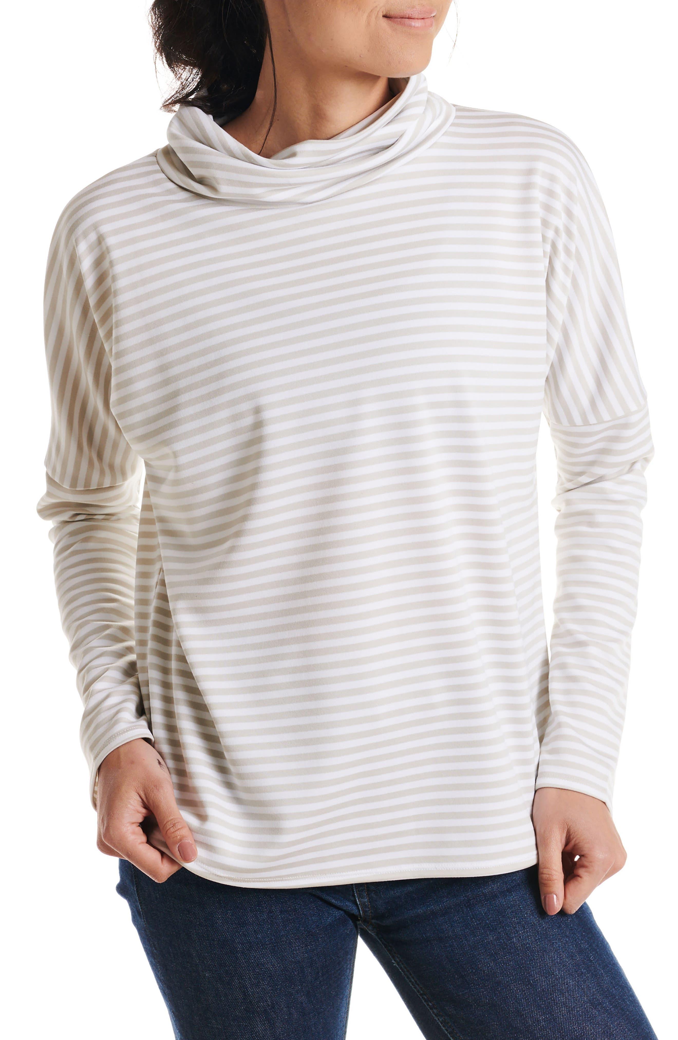 Big Stripe Mockneck Pullover,                             Main thumbnail 1, color,                             STONE STRIPE