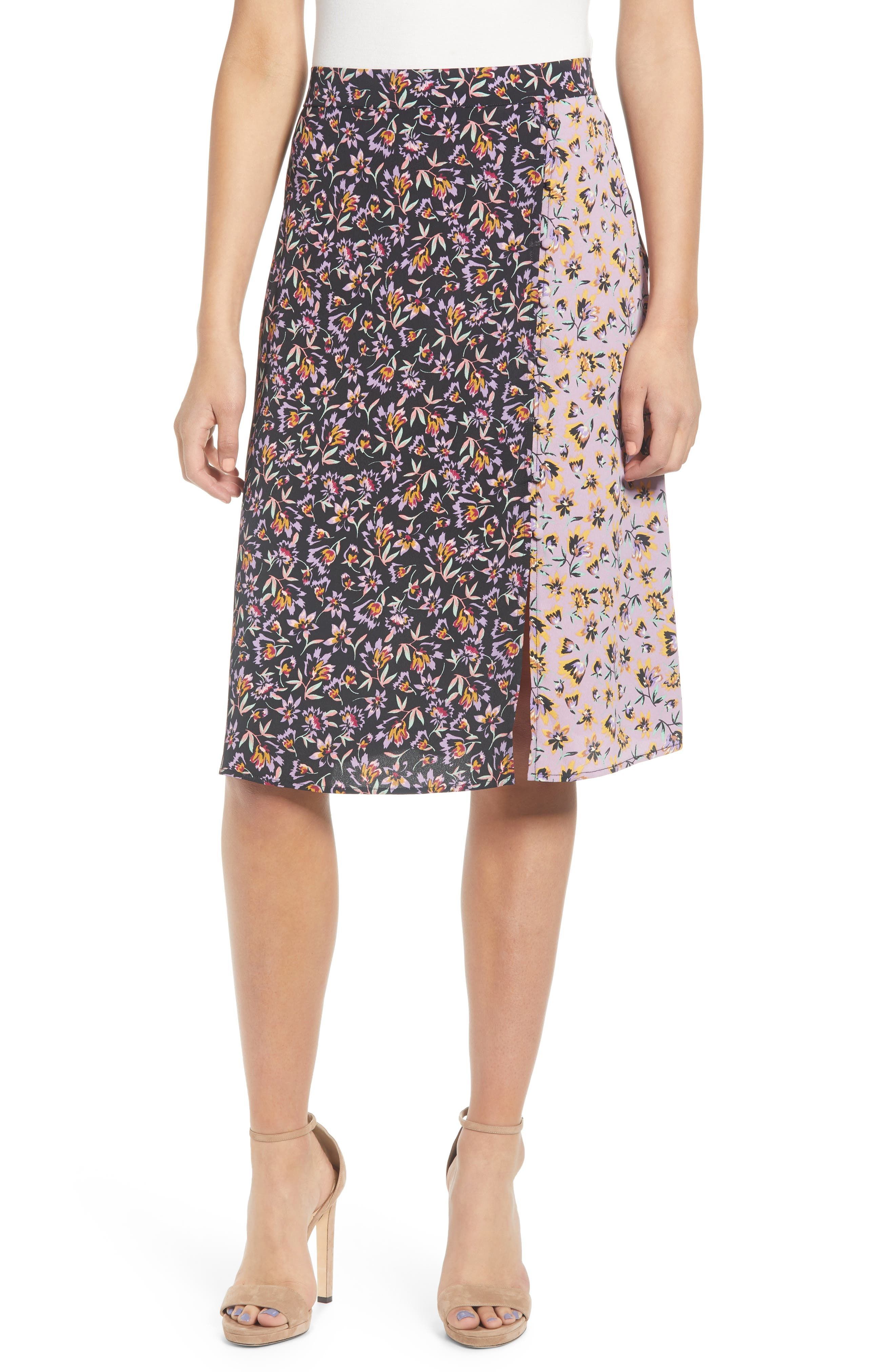 Band Of Gypsies New Orleans Mixed Floral Print Skirt, Black