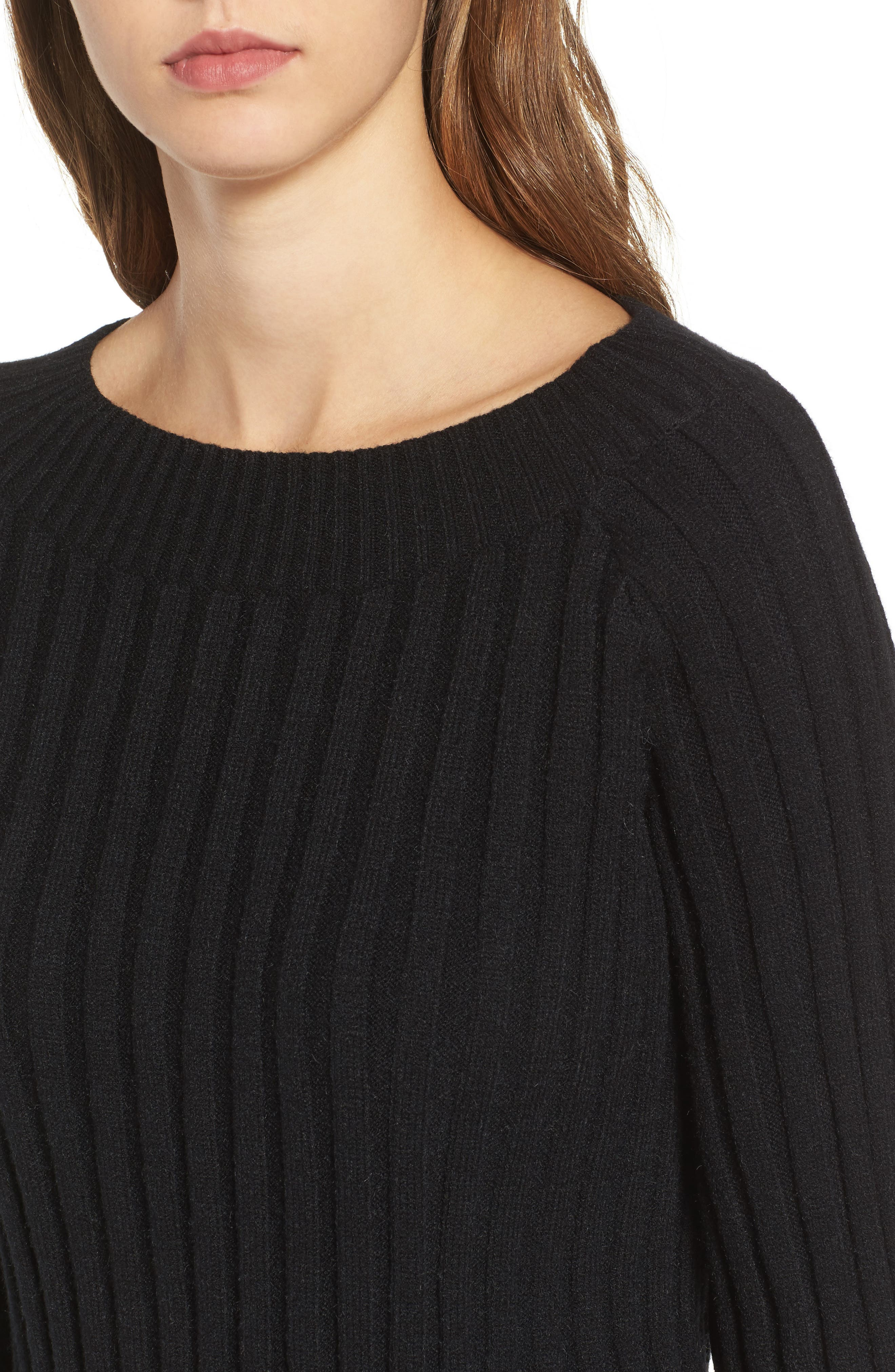Crop Ribbed Sweater,                             Alternate thumbnail 4, color,                             001