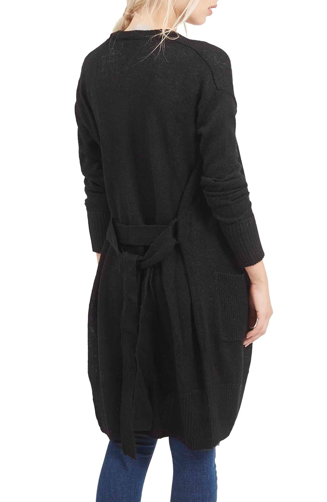 'Lulu' Belted Longline Cardigan,                             Alternate thumbnail 3, color,                             001