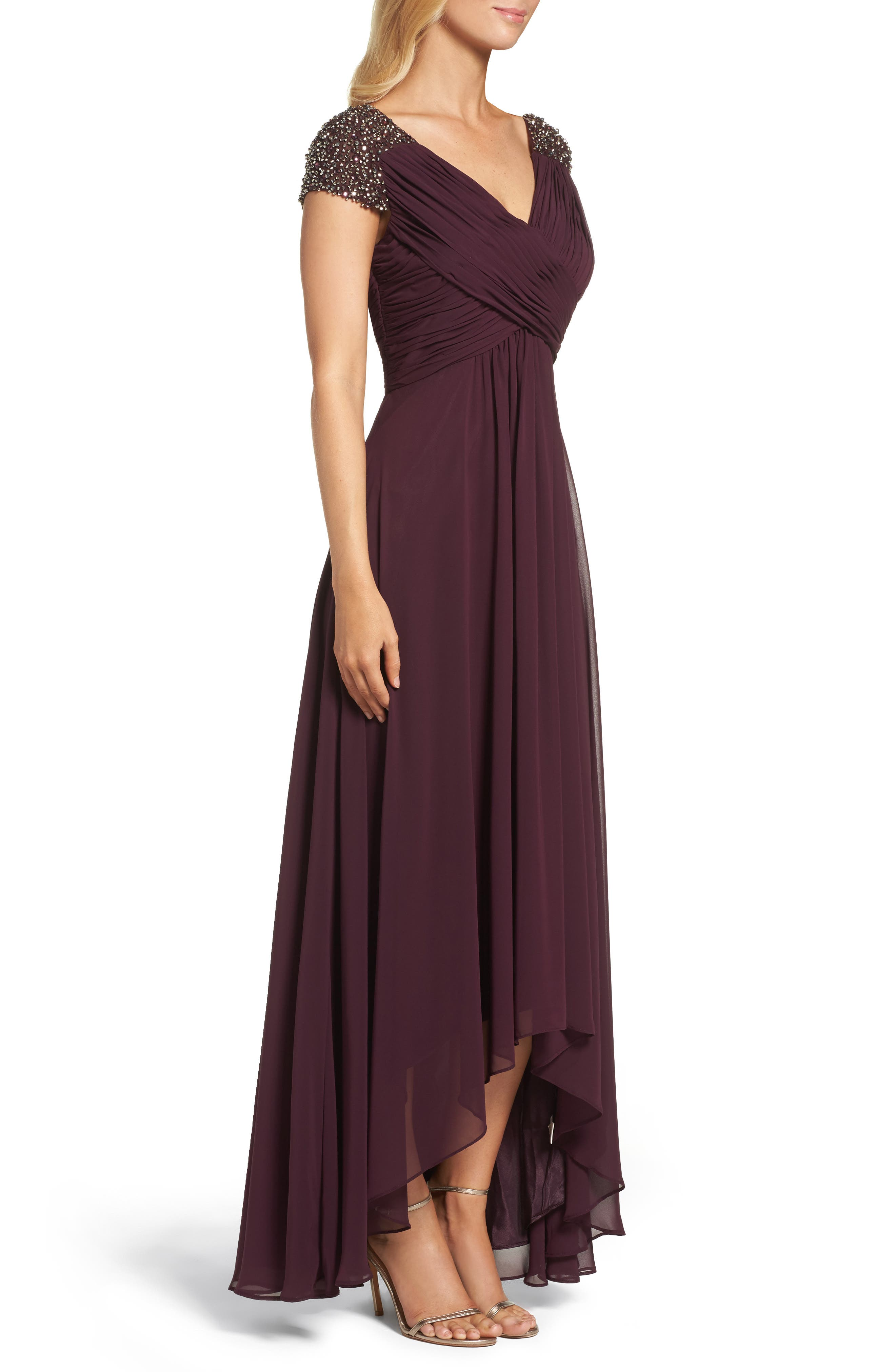 Embellished Pleated Chiffon Gown,                             Alternate thumbnail 9, color,